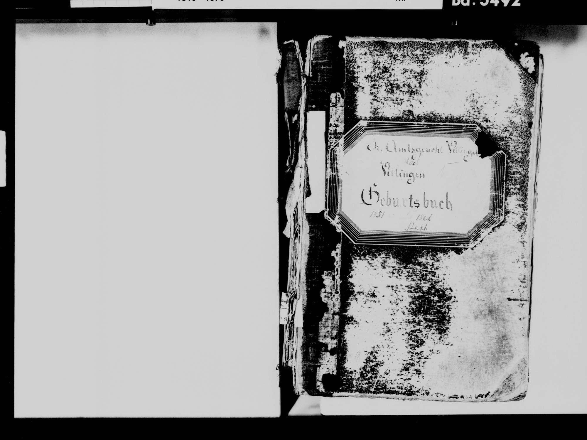 Villingen, Villingen-Schwenningen VS; Katholische Gemeinde: Geburtenbuch 1851-1861, Bild 3