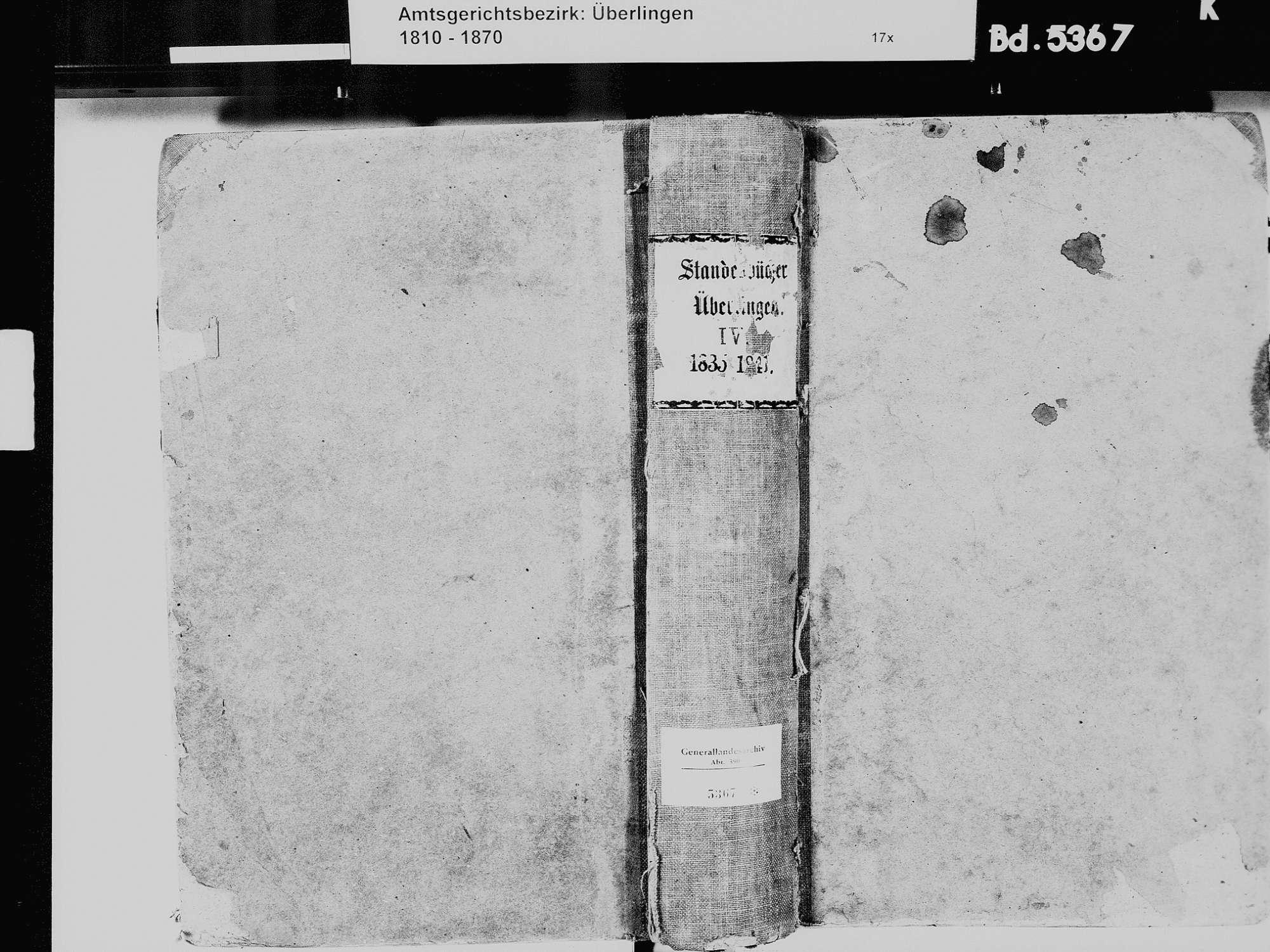 Überlingen FN; Katholische Gemeinde: Standesbuch 1835-1841, Bild 2