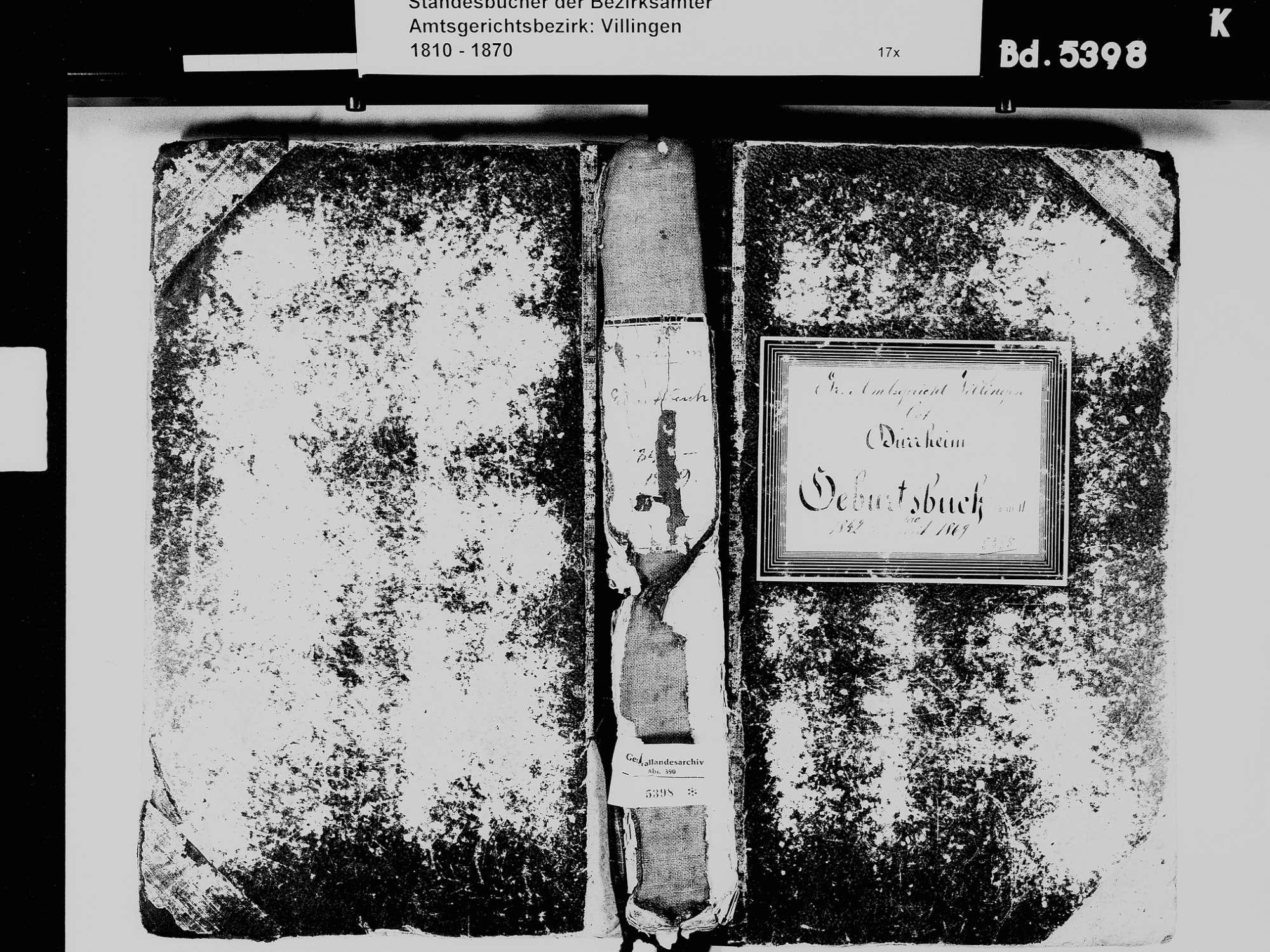 Bad Dürrheim VS; Katholische Gemeinde: Geburtenbuch 1842-1869, Bild 2