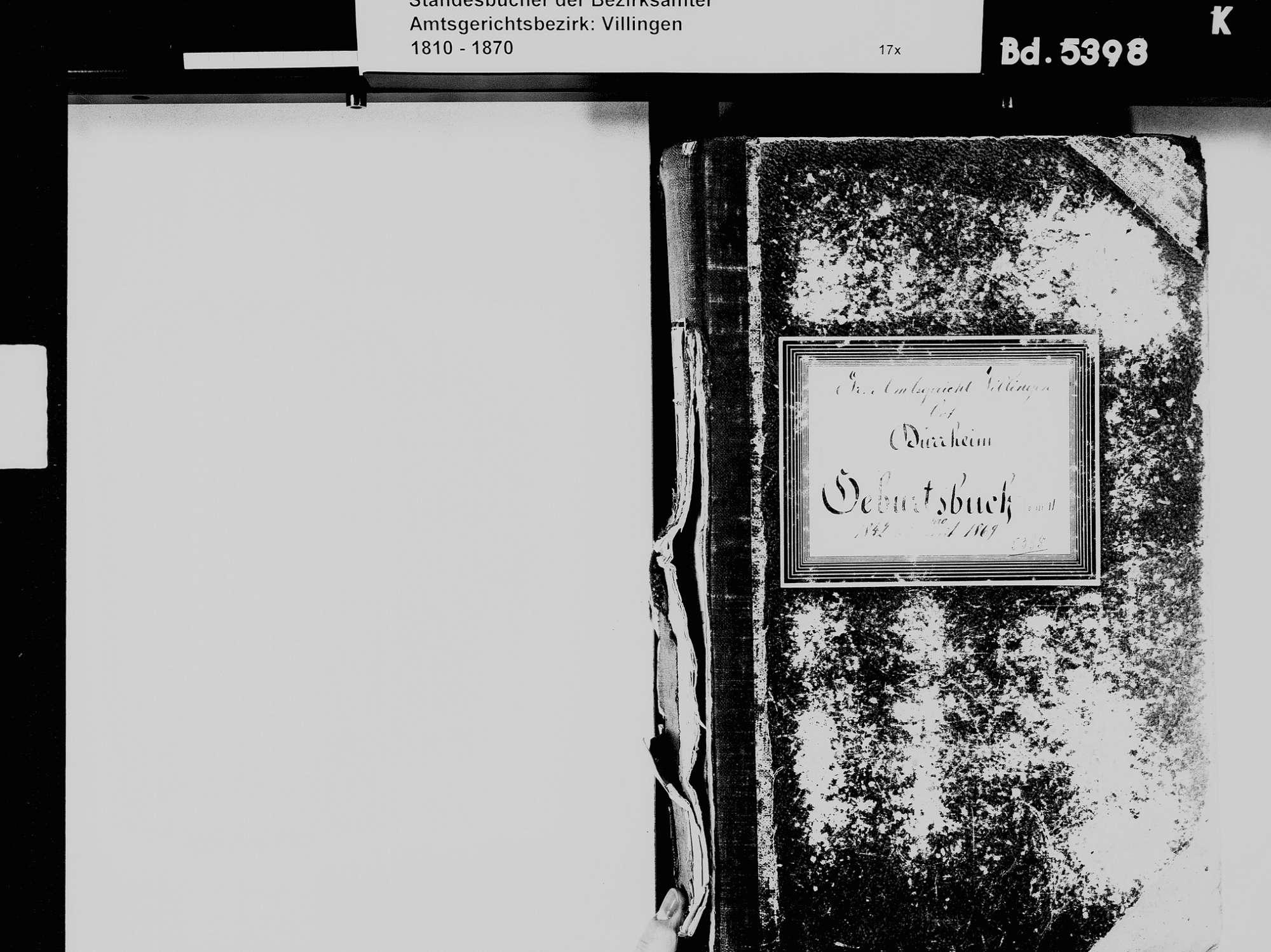 Bad Dürrheim VS; Katholische Gemeinde: Geburtenbuch 1842-1869, Bild 3