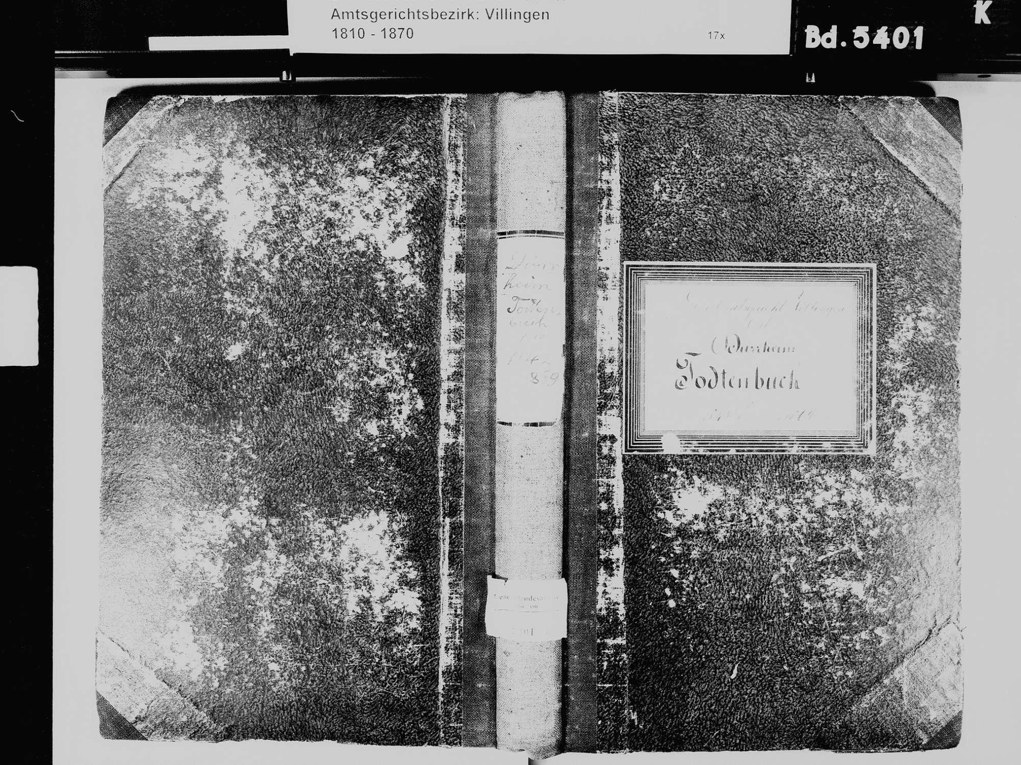 Bad Dürrheim VS; Katholische Gemeinde: Sterbebuch 1842-1869, Bild 2