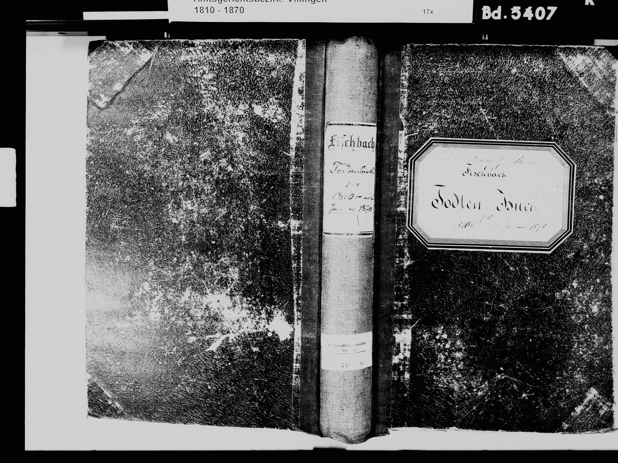 Fischbach, Niedereschach VS; Katholische Gemeinde: Sterbebuch 1810-1870, Bild 2