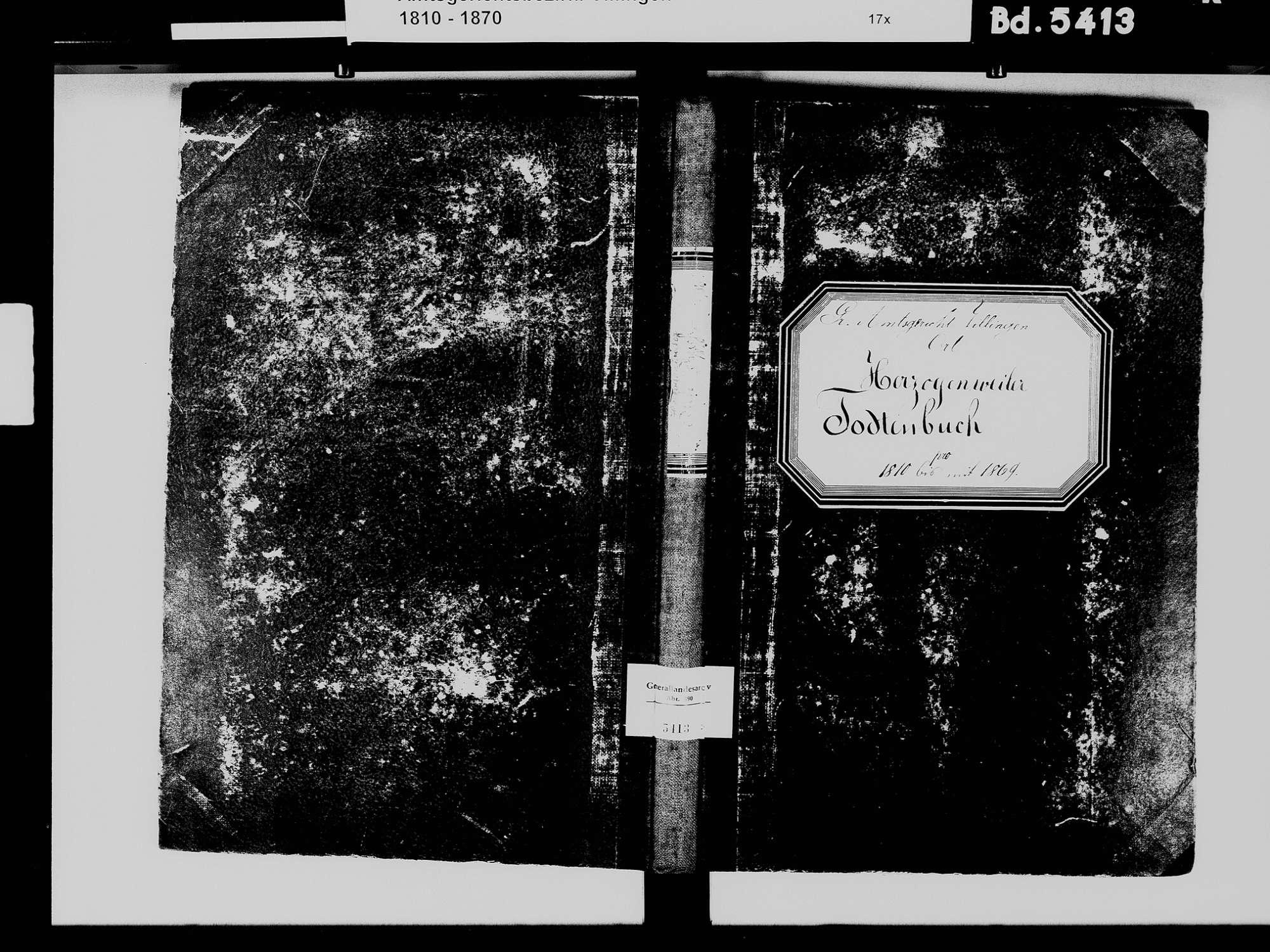 Herzogenweiler, Villingen-Schwenningen VS; Katholische Gemeinde: Heiratsbuch 1812 Herzogenweiler, Villingen-Schwenningen VS; Katholische Gemeinde: Sterbebuch 1810-1869, Bild 2