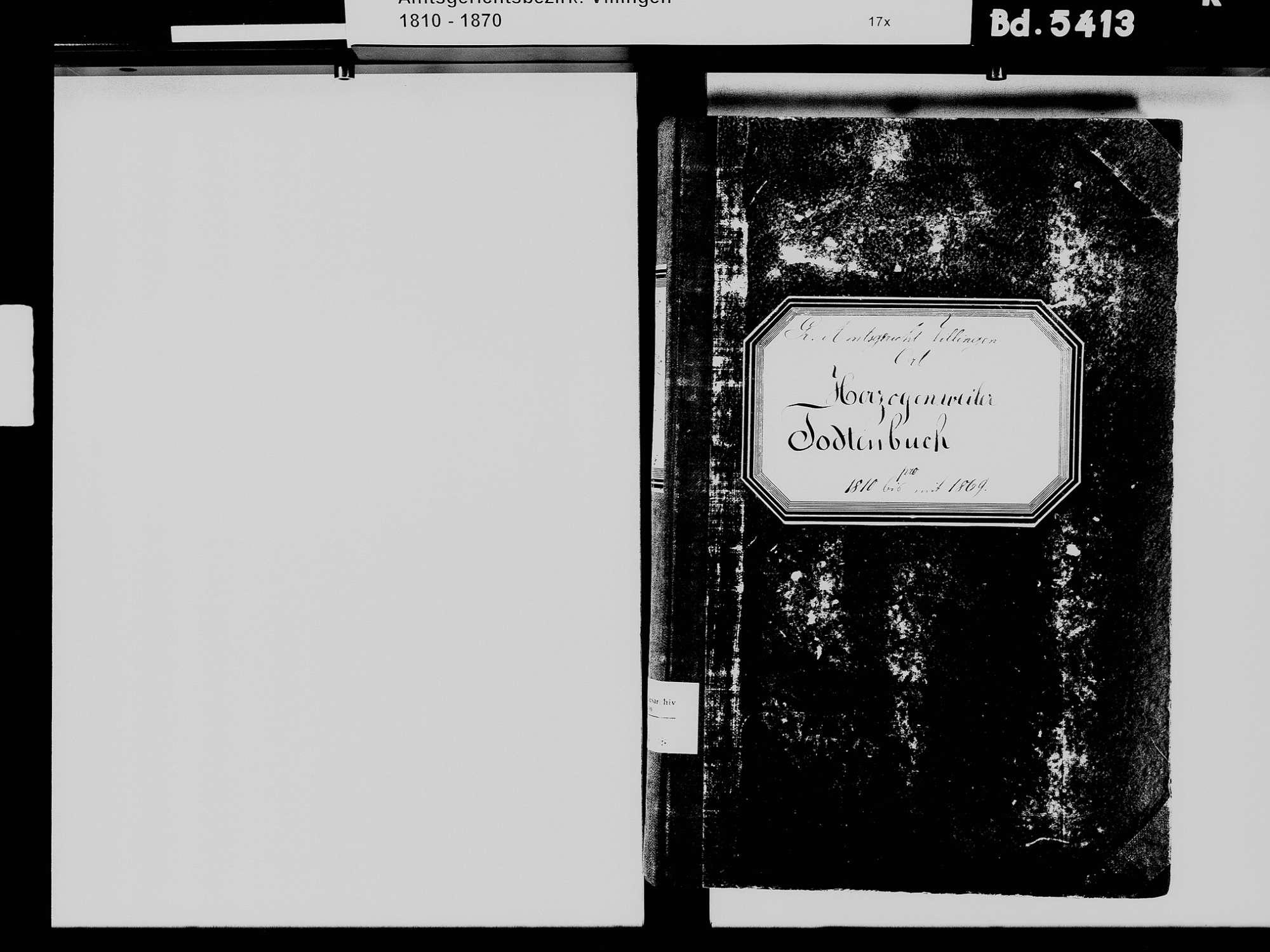 Herzogenweiler, Villingen-Schwenningen VS; Katholische Gemeinde: Heiratsbuch 1812 Herzogenweiler, Villingen-Schwenningen VS; Katholische Gemeinde: Sterbebuch 1810-1869, Bild 3