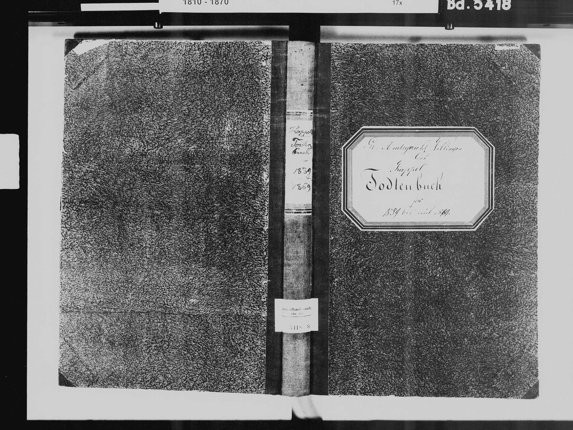 Kappel, Niedereschach VS; Katholische Gemeinde: Sterbebuch 1839-1869, Bild 2