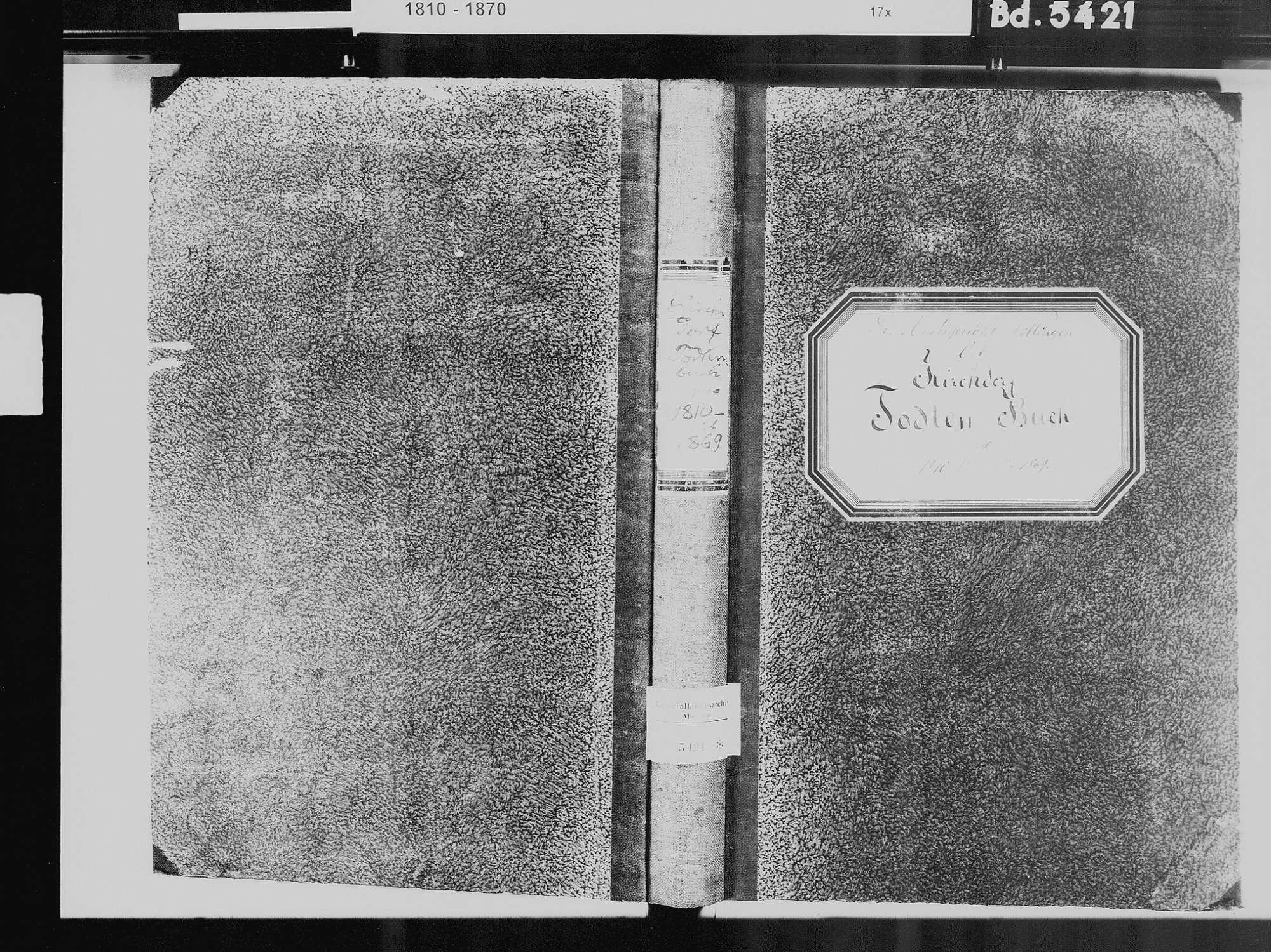 Kirchdorf, Brigachtal VS; Katholische Gemeinde: Sterbebuch 1810-1869, Bild 2