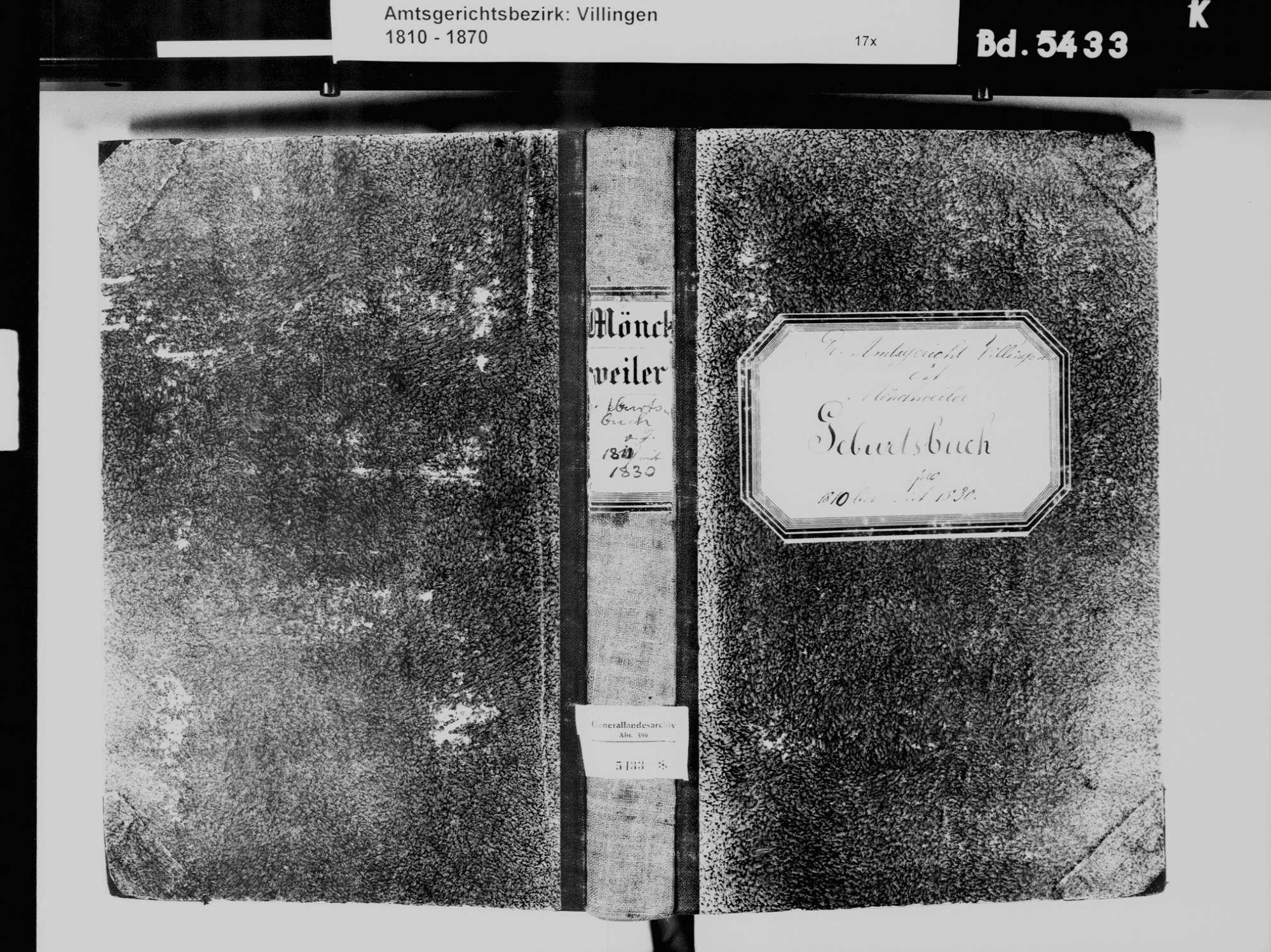 Mönchweiler VS; Evangelische Gemeinde: Geburtenbuch 1810-1830, Bild 2