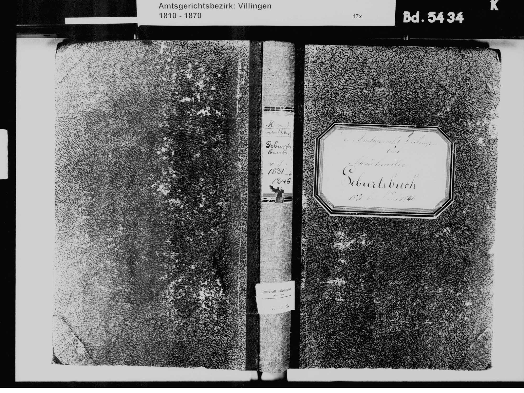 Mönchweiler VS; Evangelische Gemeinde: Geburtenbuch 1831-1846, Bild 2