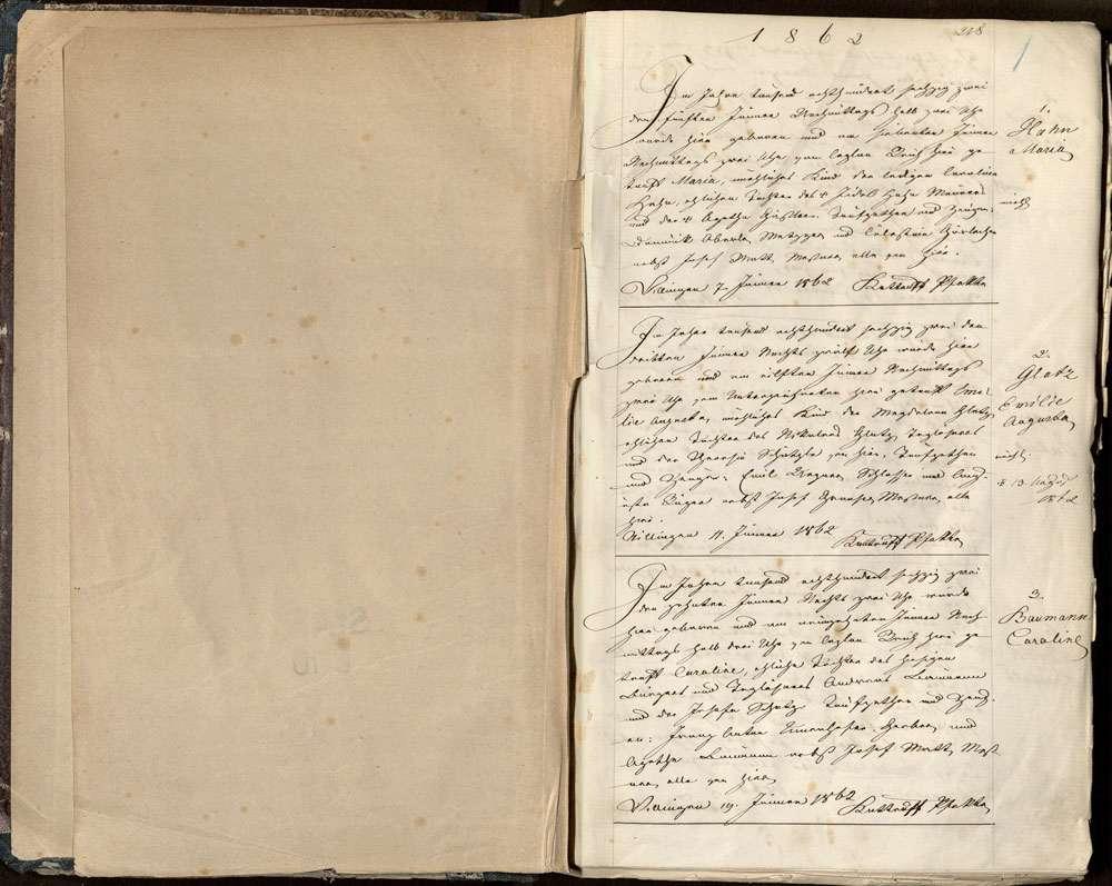 Villingen, Villingen-Schwenningen VS; Katholische Gemeinde: Geburtenbuch 1862-1868, Bild 3
