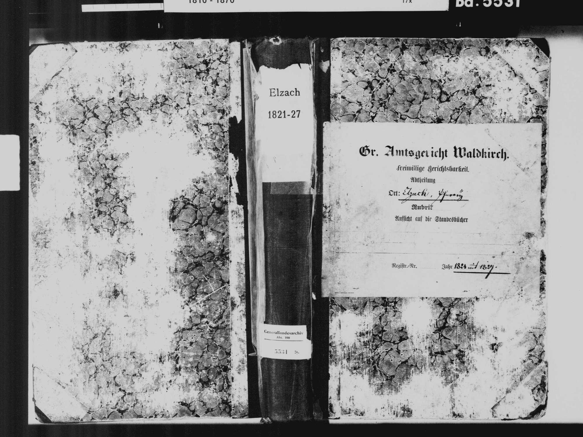 Elzach EM; Katholische Gemeinde: Standesbuch 1821-1827, Bild 2