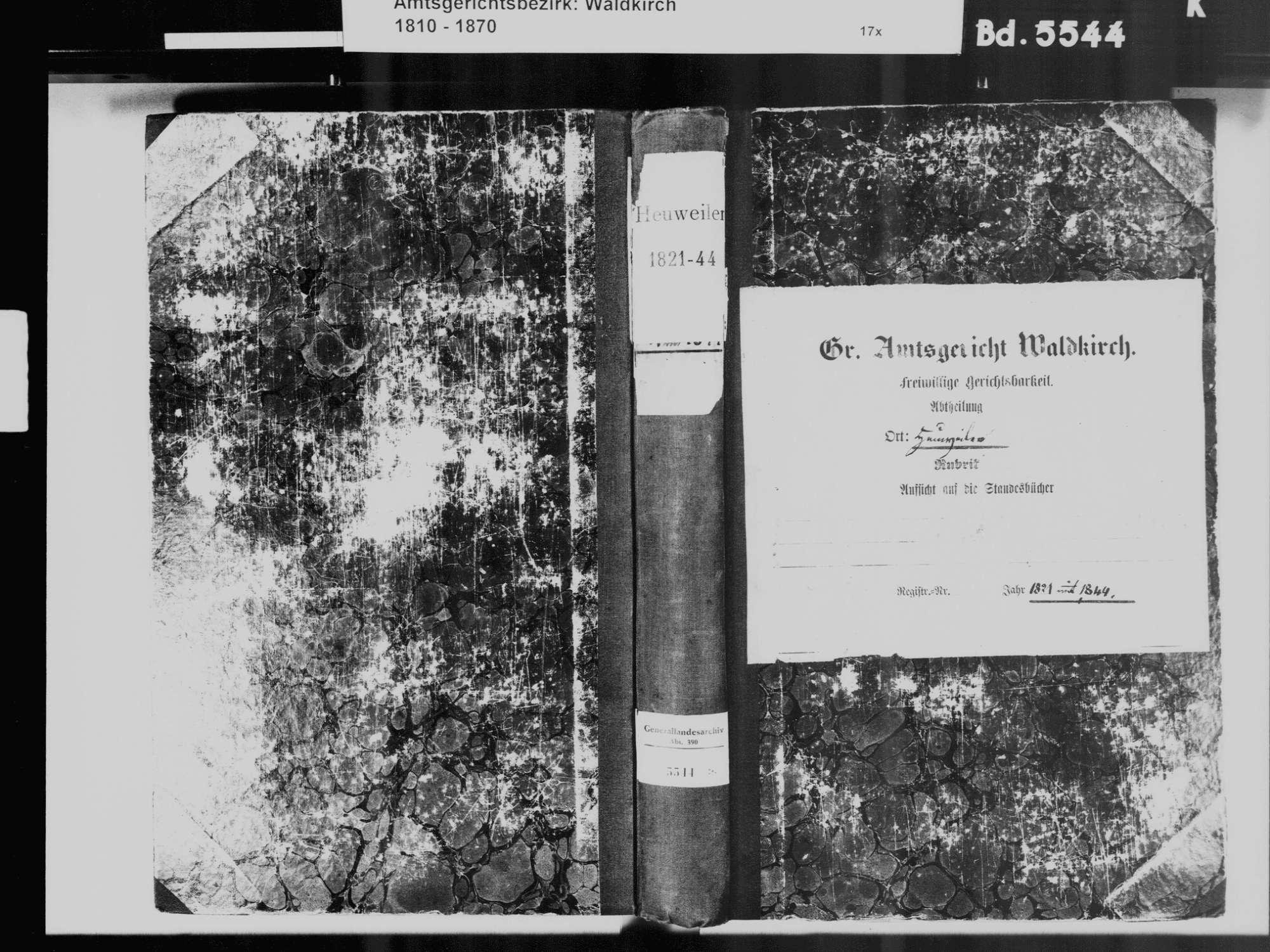 Heuweiler FR; Katholische Gemeinde: Standesbuch 1821-1844, Bild 2