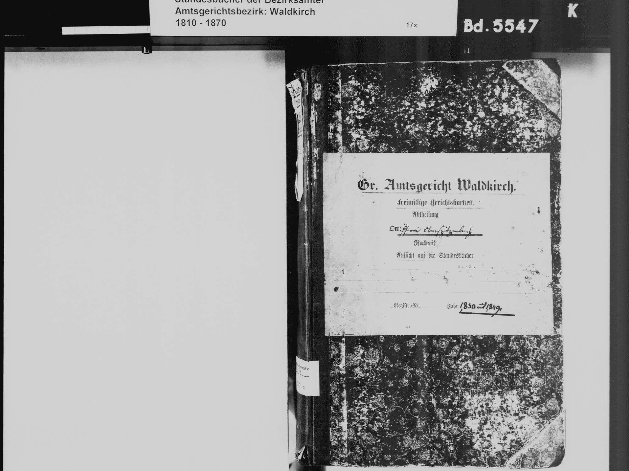Katzenmoos, Elzach EM; Katholische Gemeinde: Standesbuch 1830-1849, Bild 3
