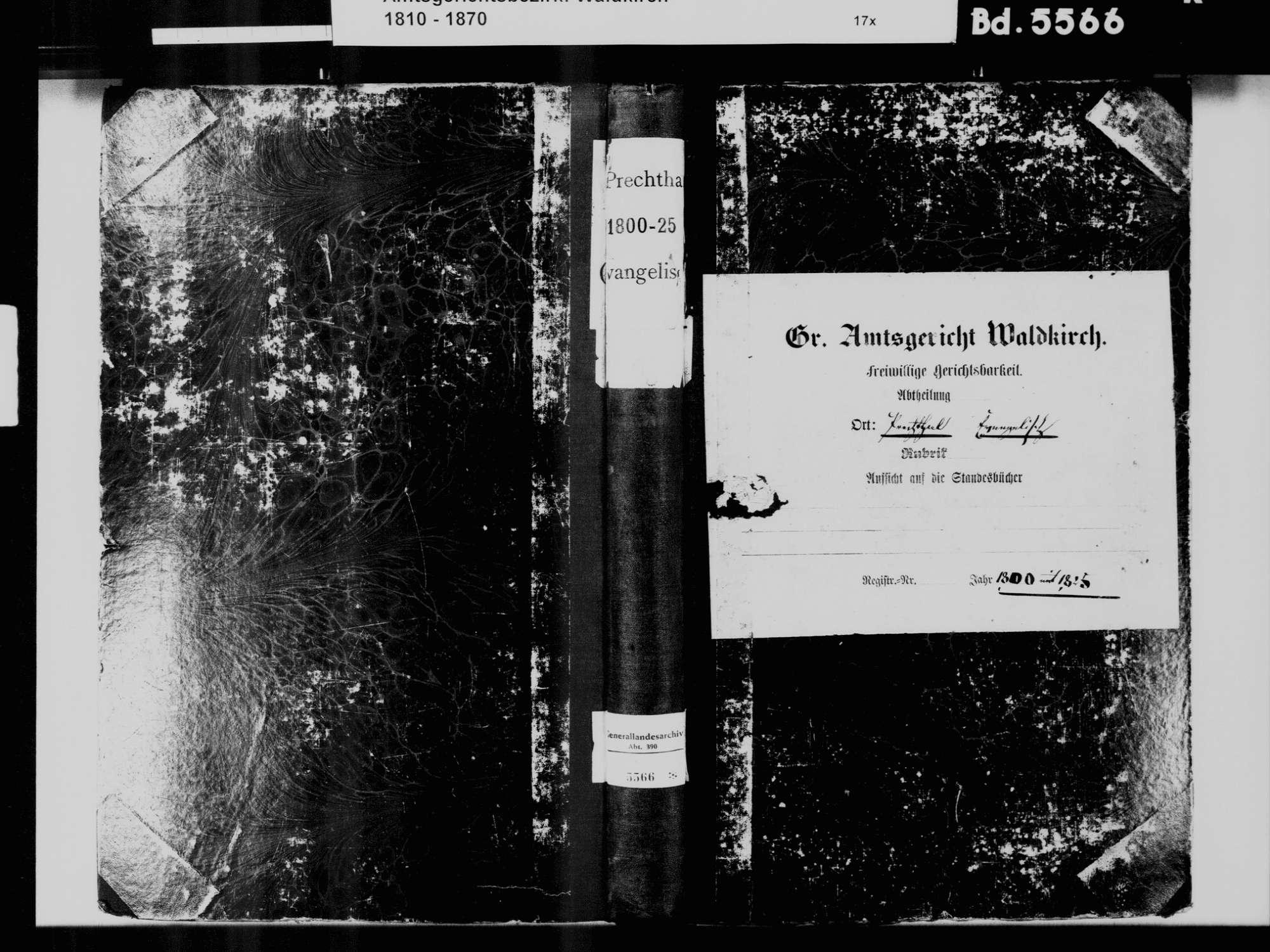 Prechtal, Elzach EM; Evangelische Gemeinde: Standesbuch 1800-1825, Bild 2