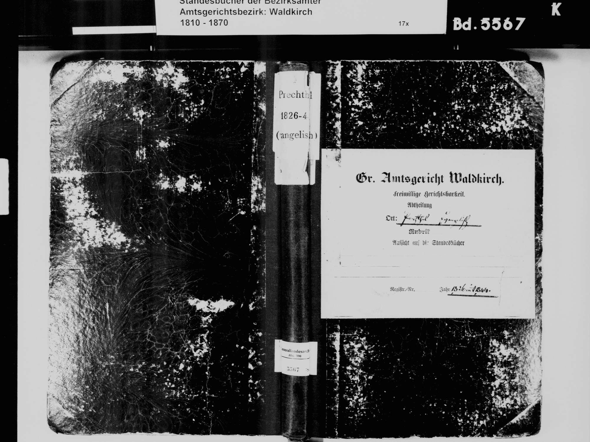 Prechtal, Elzach EM; Evangelische Gemeinde: Standesbuch 1826-1844, Bild 2