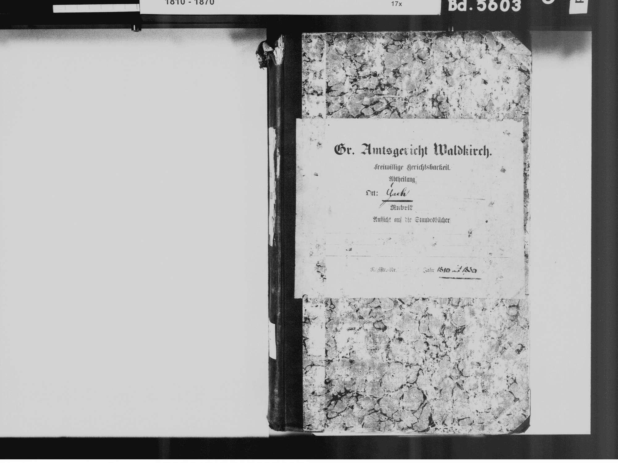 Yach, Elzach EM; Katholische Gemeinde: Standesbuch 1810-1830, Bild 2