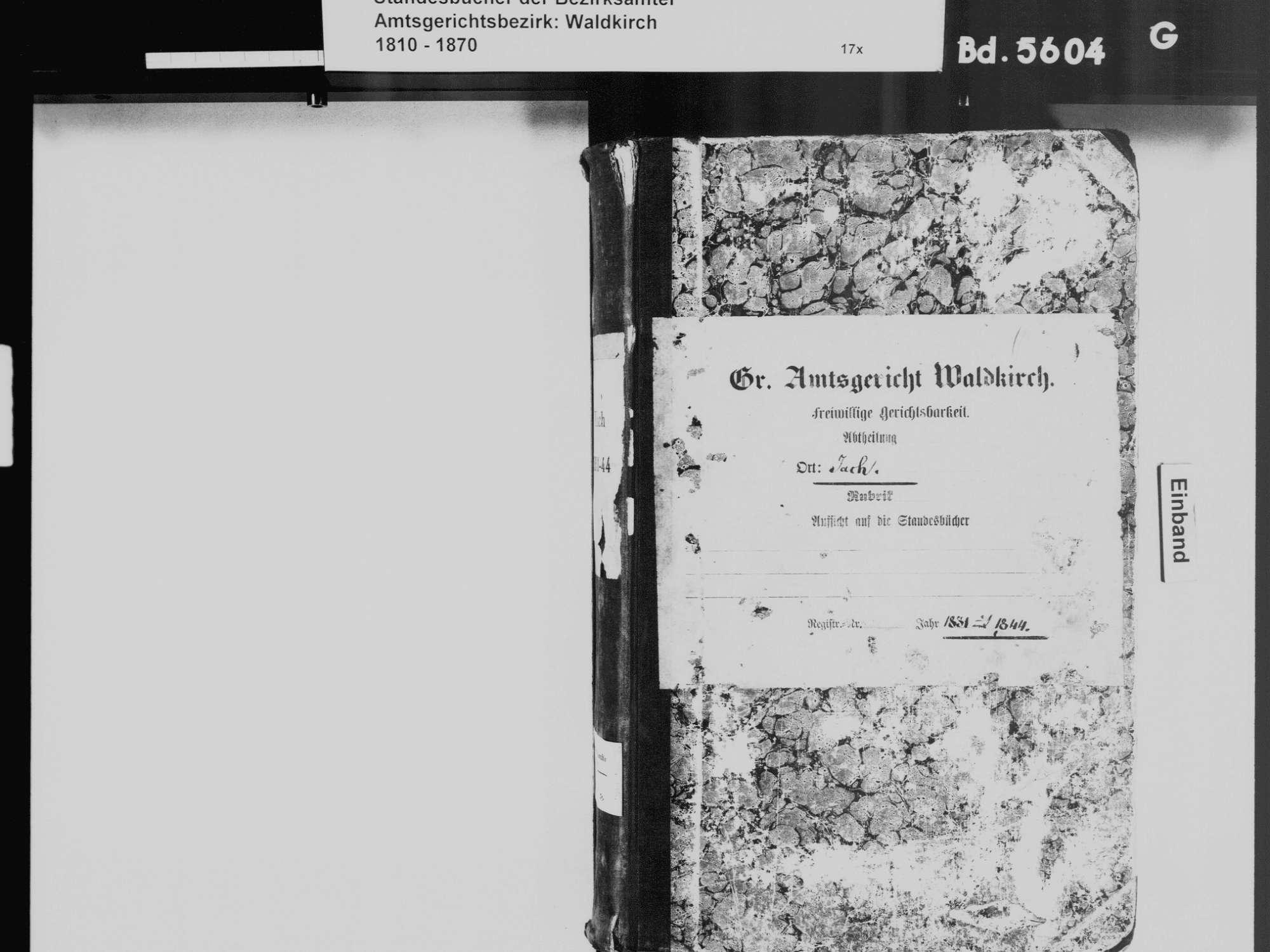 Yach, Elzach EM; Katholische Gemeinde: Standesbuch 1831-1844, Bild 2