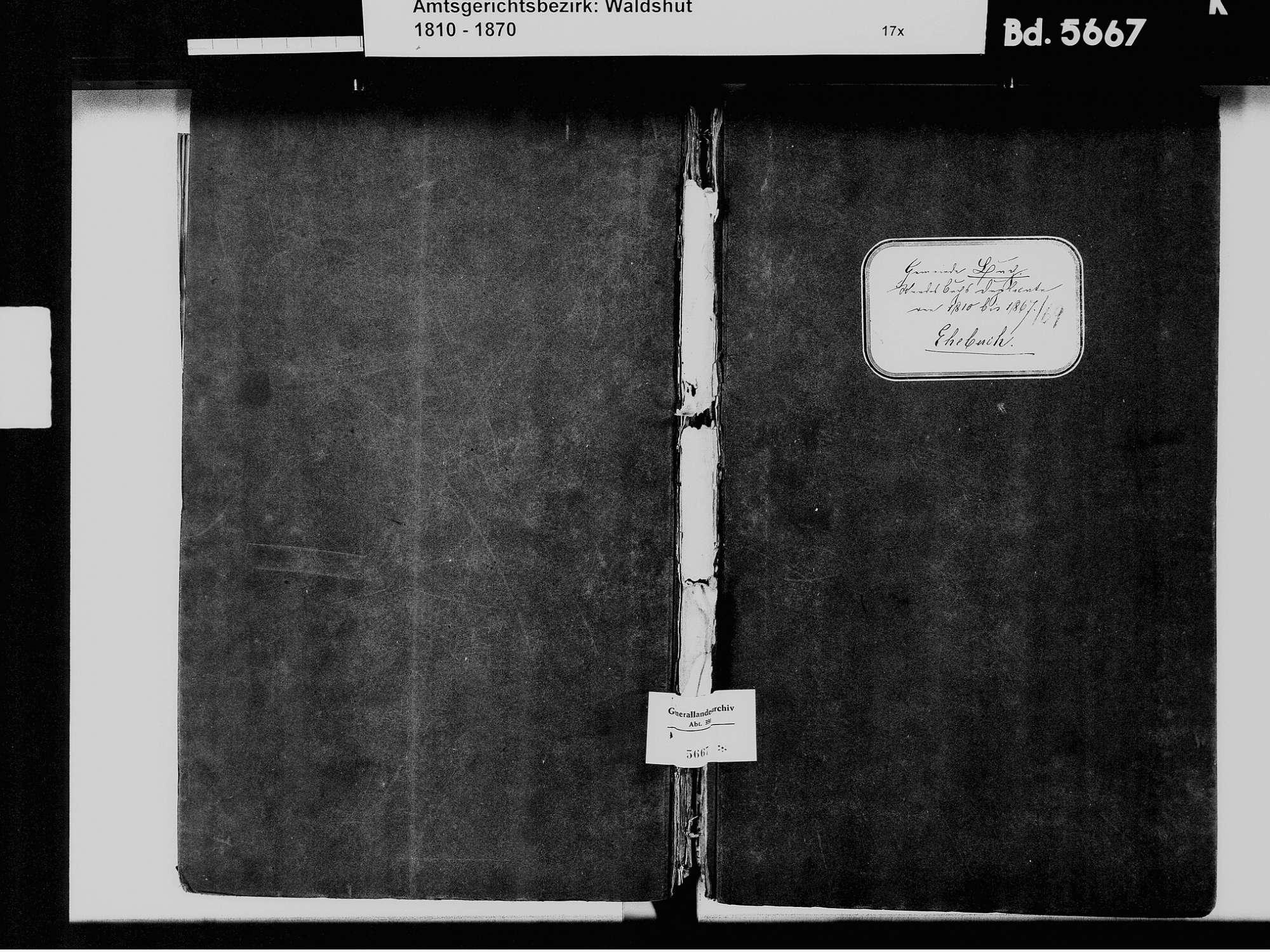 Buch, Albbruck WT; Katholische Gemeinde: Heiratsbuch 1810-1869, Bild 2