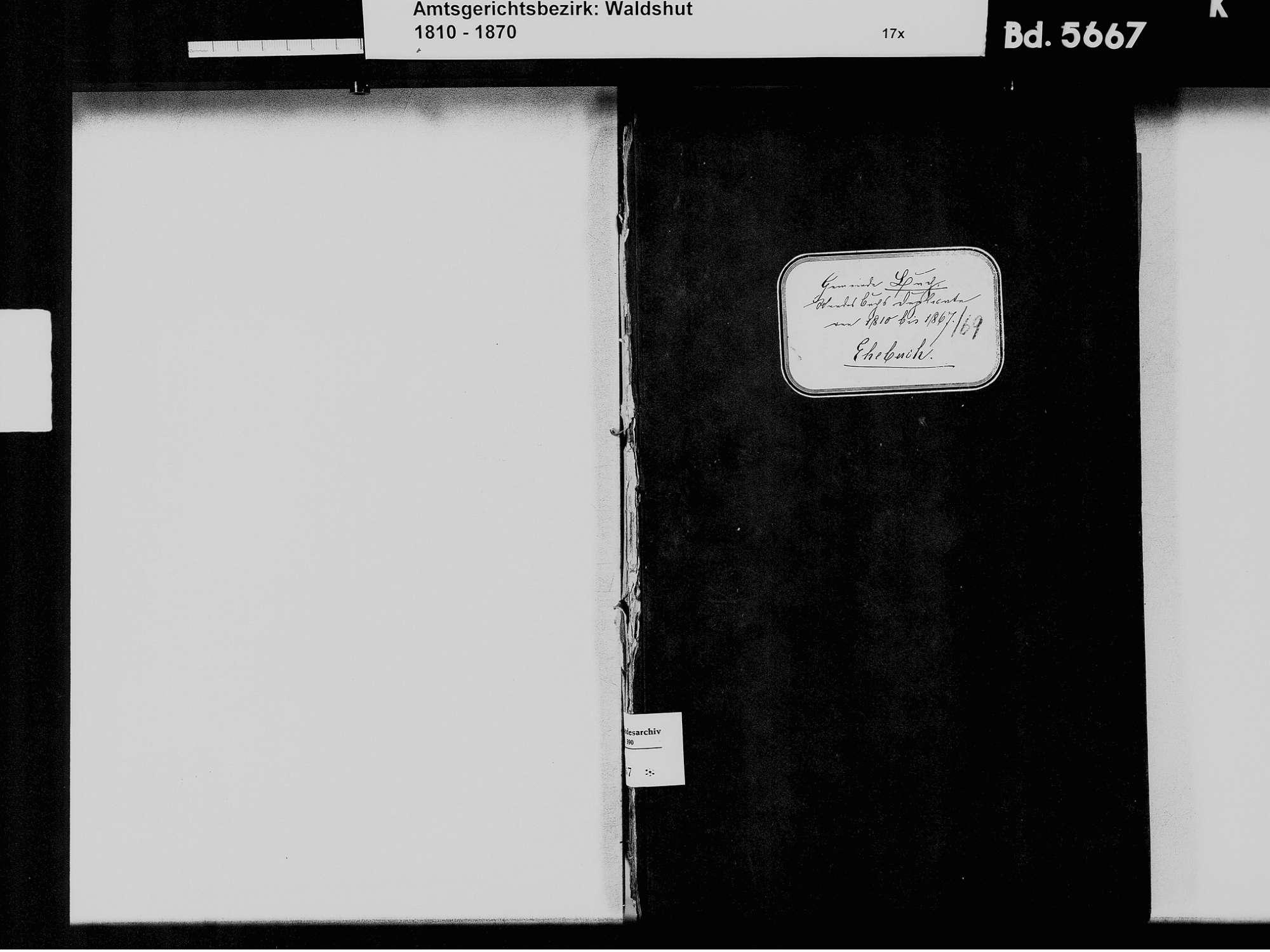 Buch, Albbruck WT; Katholische Gemeinde: Heiratsbuch 1810-1869, Bild 3