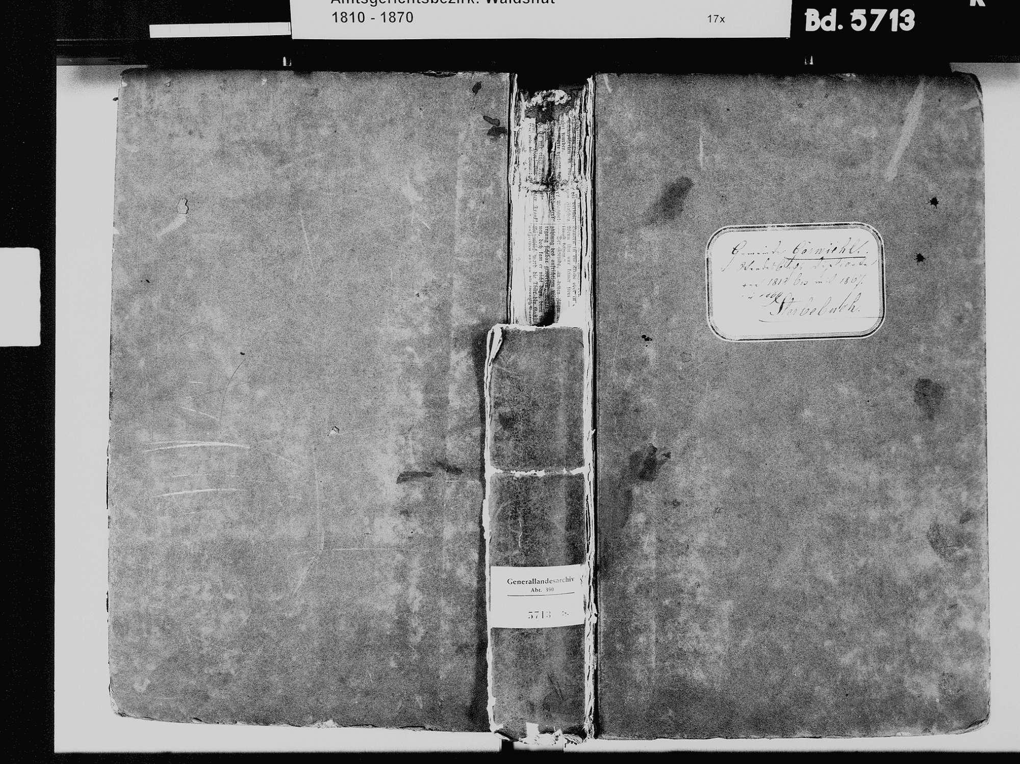 Görwihl WT; Katholische Gemeinde: Sterbebuch 1810-1869, Bild 2