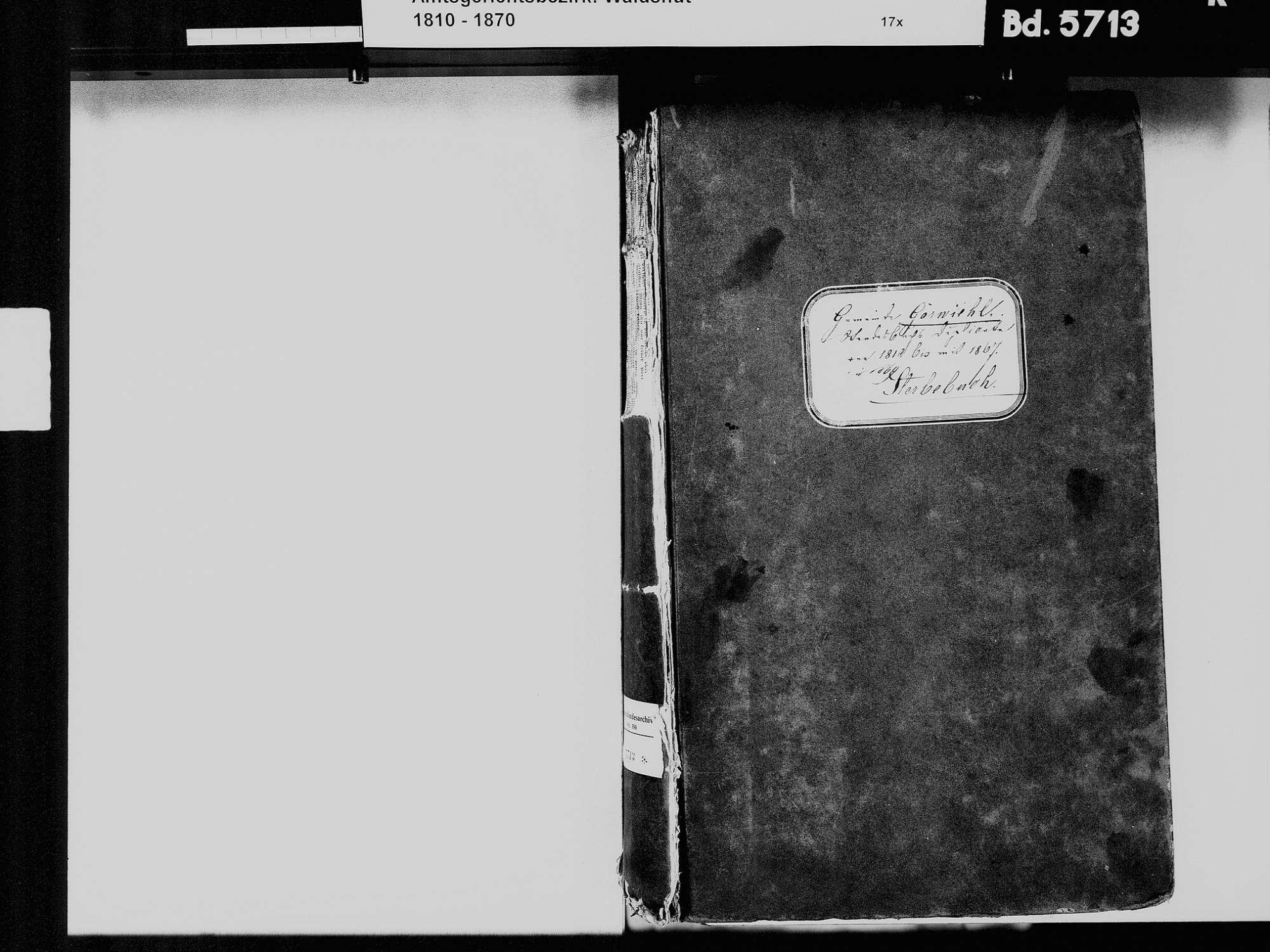 Görwihl WT; Katholische Gemeinde: Sterbebuch 1810-1869, Bild 3