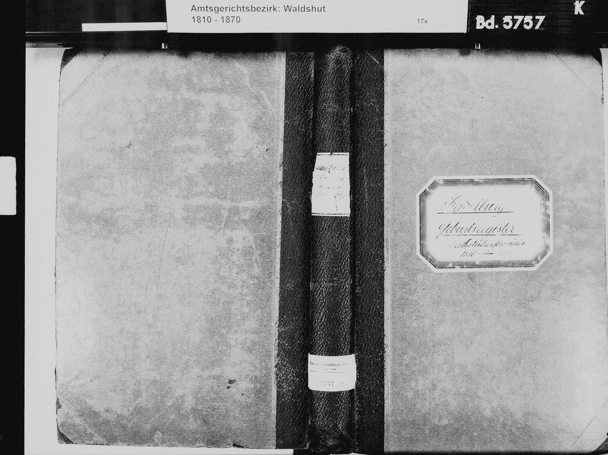 Kadelburg, Küssaberg WT; Katholische Gemeinde: Geburtenbuch 1810-1869 Kadelburg, Küssaberg WT; Katholische Gemeinde: Heiratsbuch 1811, 1820, 1835-1836 Kadelburg, Küssaberg WT; Katholische Gemeinde: Sterbebuch 1834-1836, Bild 2