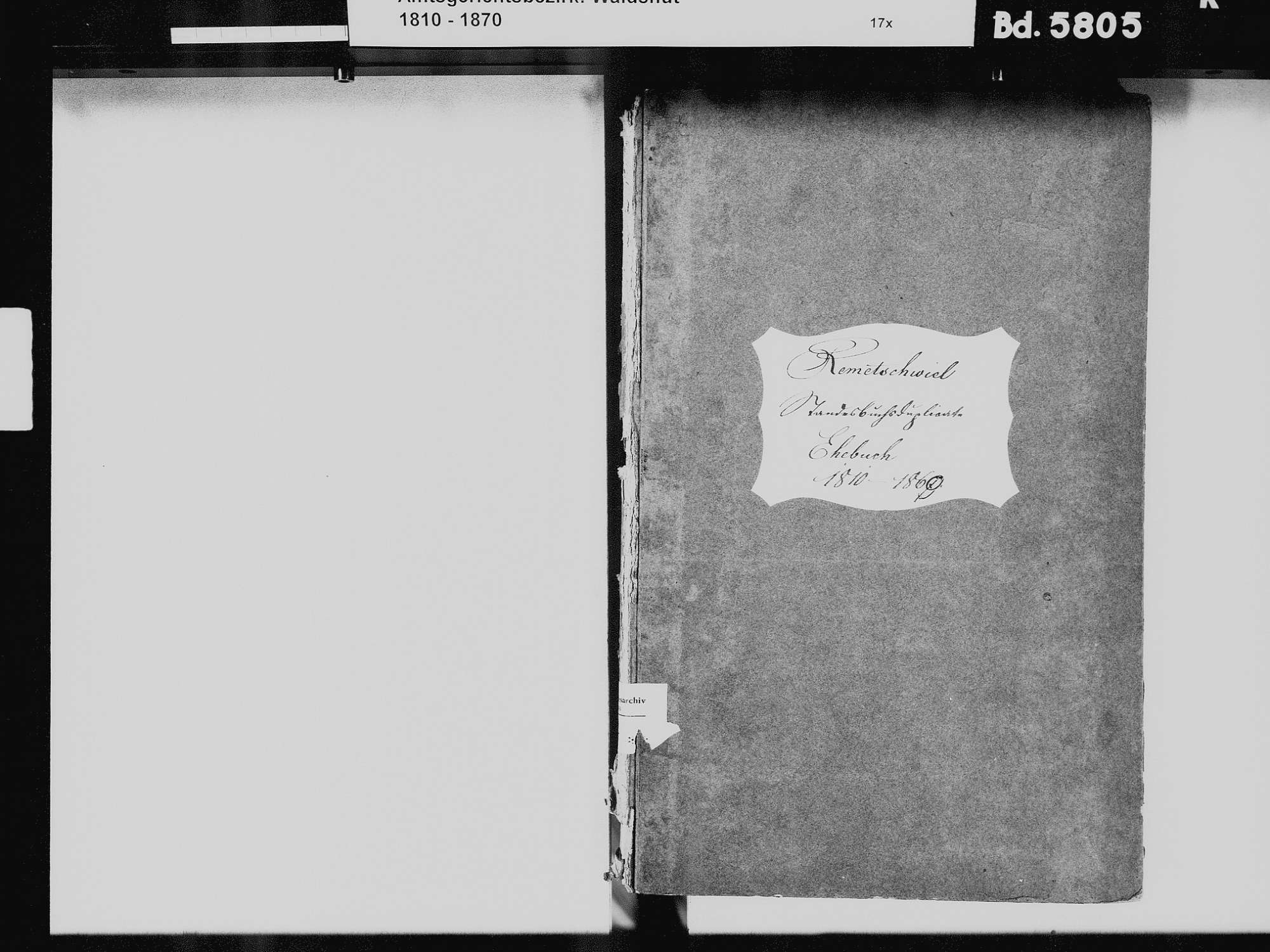 Remetschwiel, Weilheim WT; Katholische Gemeinde: Heiratsbuch 1810-1869, Bild 3