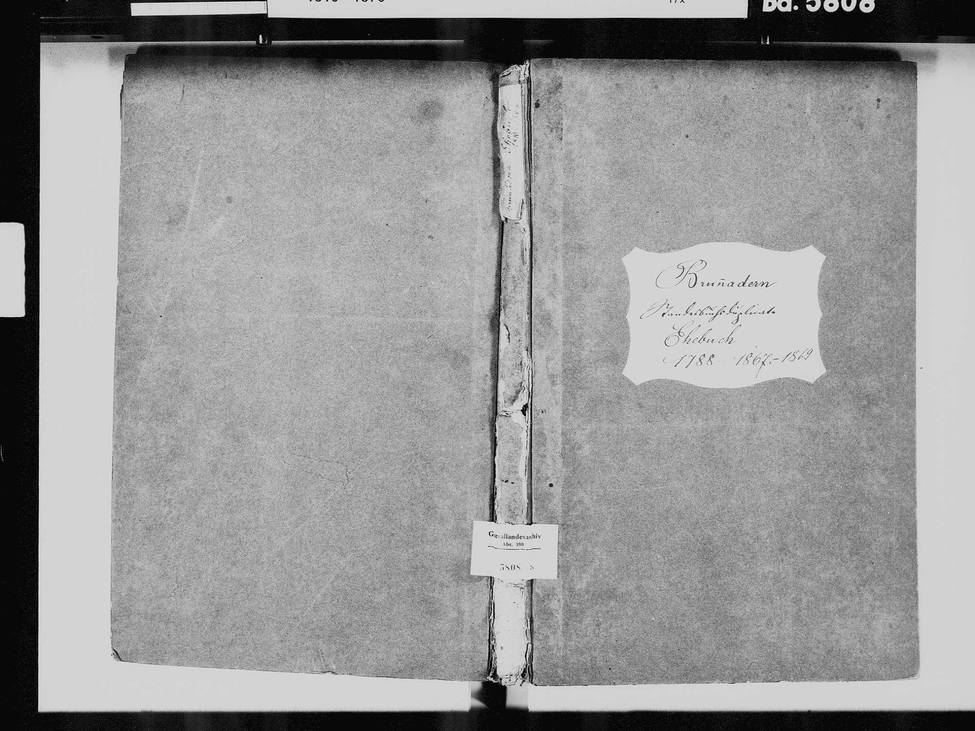 Brunnadern, Bonndorf im Schwarzwald WT; Katholische Gemeinde: Heiratsbuch 1810-1869, Bild 2