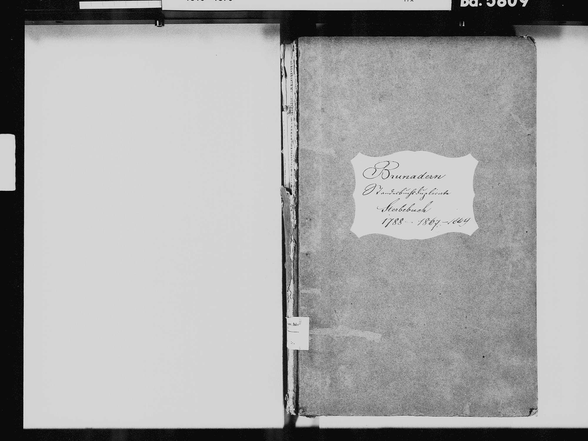 Brunnadern, Bonndorf im Schwarzwald WT; Katholische Gemeinde: Sterbebuch 1810-1869, Bild 3