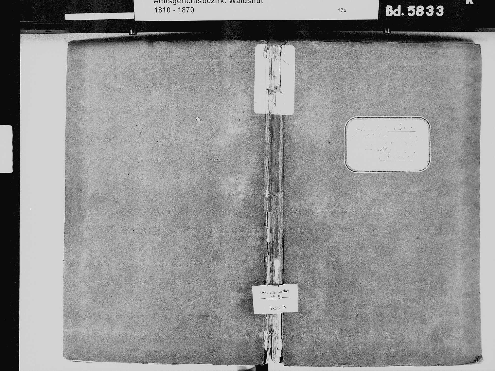 Schachen, Albbruck WT; Katholische Gemeinde: Sterbebuch 1810-1869, Bild 2
