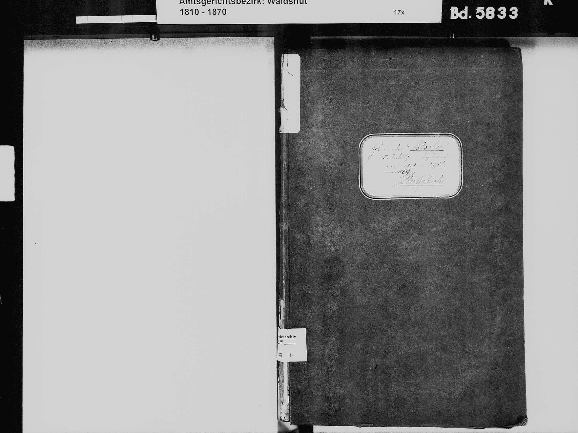 Schachen, Albbruck WT; Katholische Gemeinde: Sterbebuch 1810-1869, Bild 3