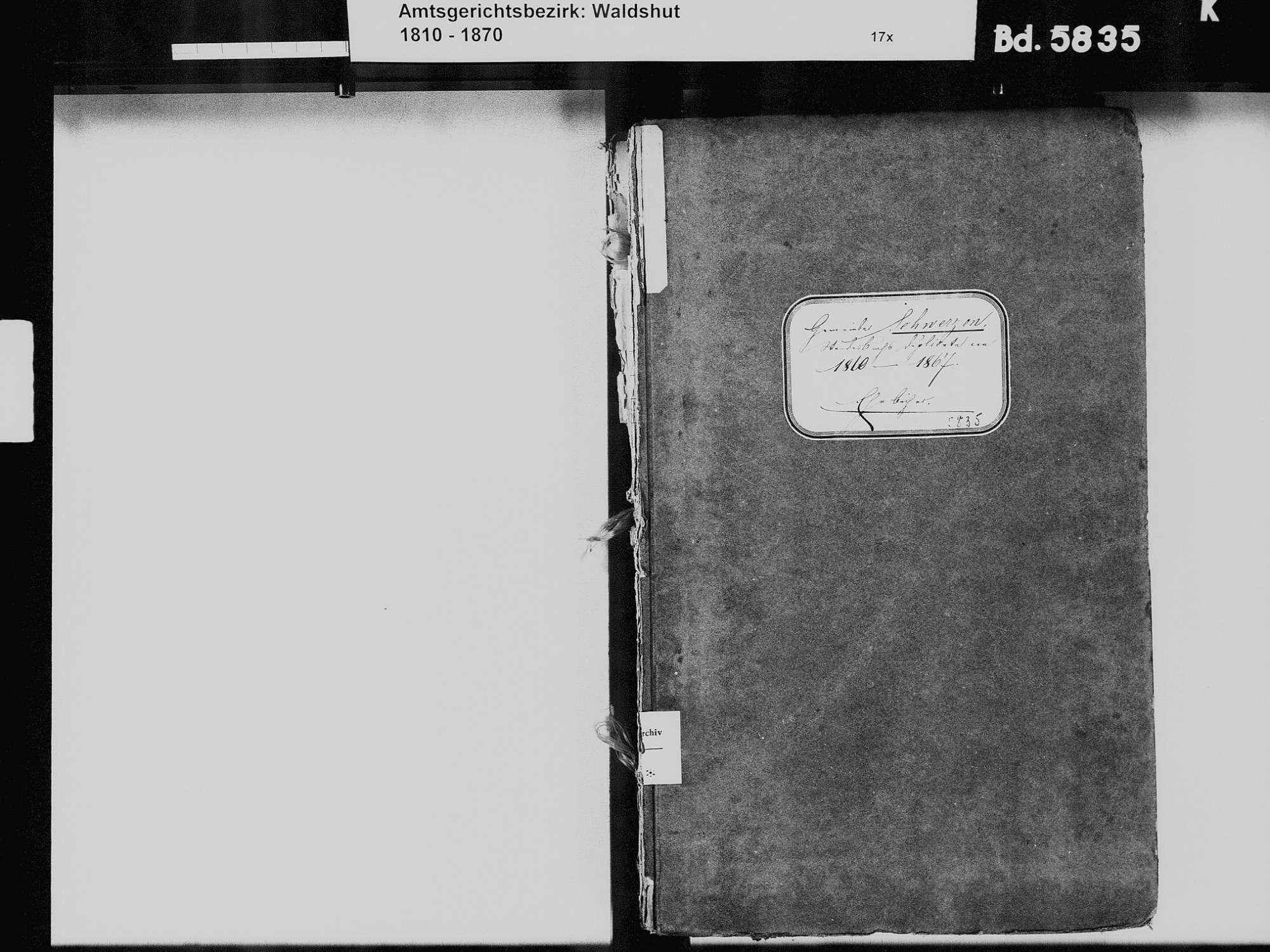 Schwerzen, Wutöschingen WT; Katholische Gemeinde: Heiratsbuch 1810-1869 Schwerzen, Wutöschingen WT; Katholische Gemeinde: Sterbebuch 1827-1828, 1831-1833, Bild 2