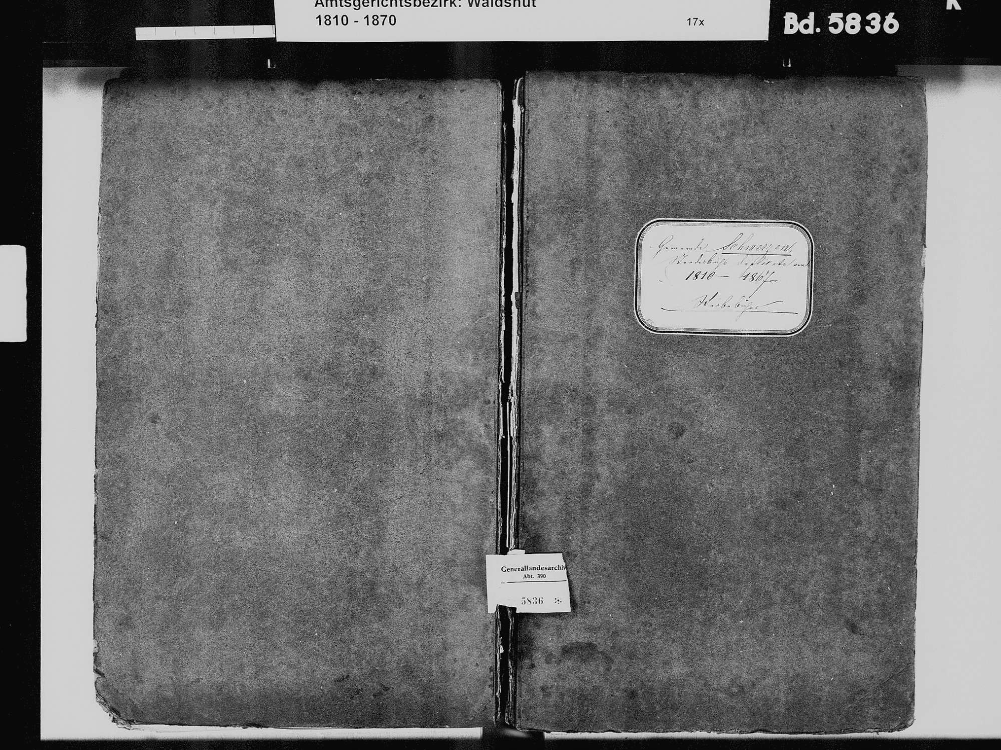 Schwerzen, Wutöschingen WT; Katholische Gemeinde: Sterbebuch 1810-1869, Bild 2