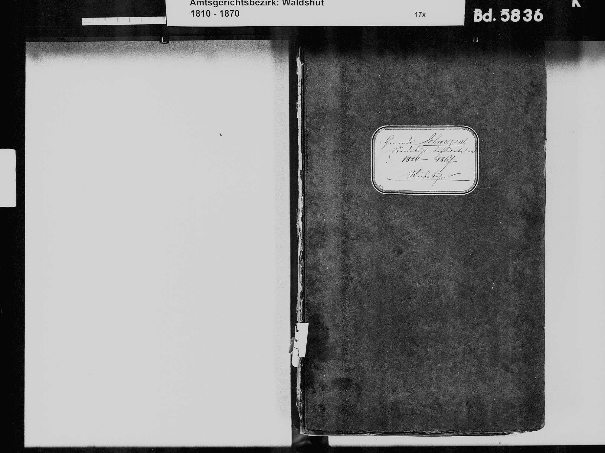 Schwerzen, Wutöschingen WT; Katholische Gemeinde: Sterbebuch 1810-1869, Bild 3
