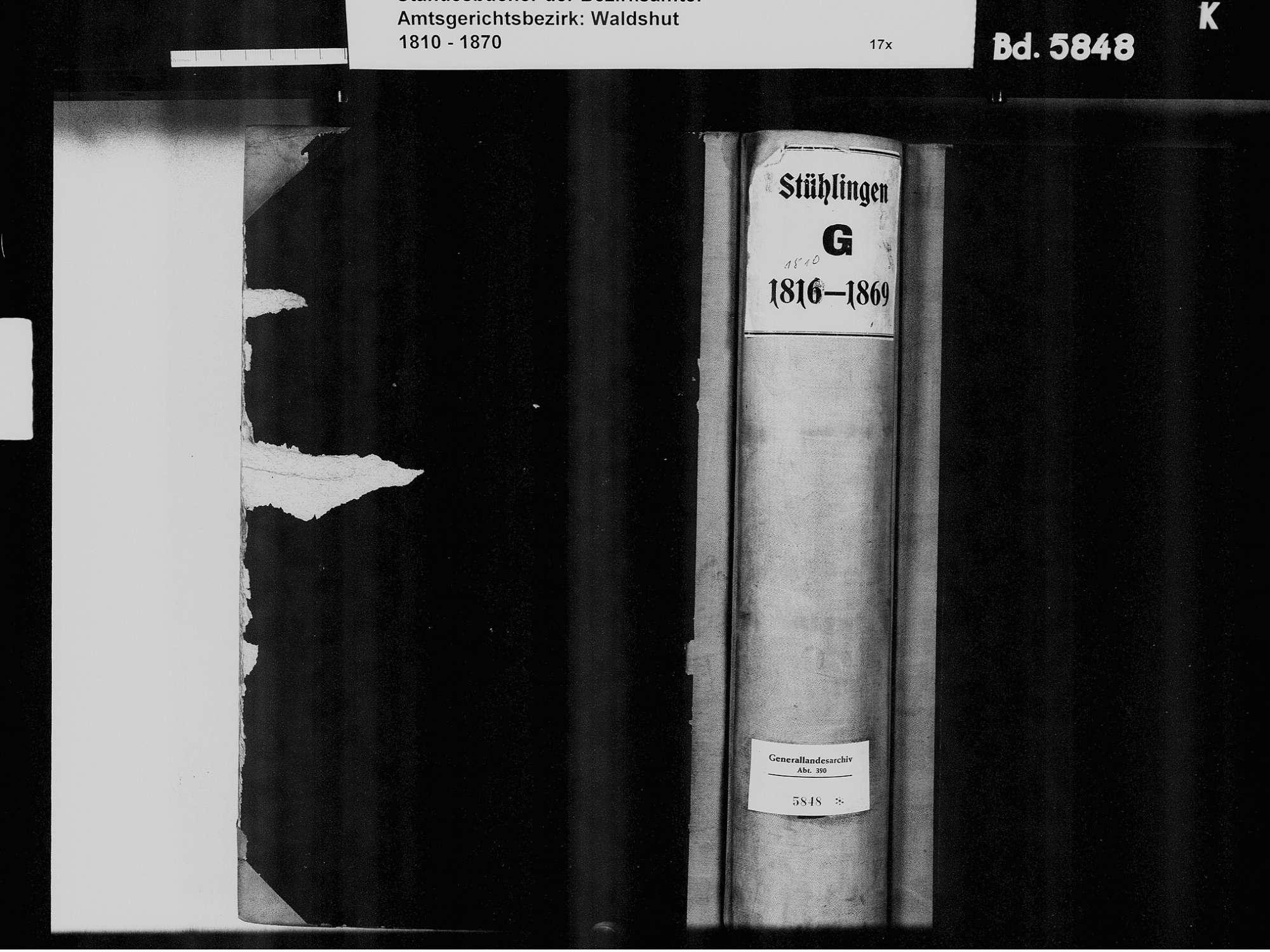 Stühlingen WT; Katholische Gemeinde: Geburtenbuch 1810-1869 Stühlingen WT; Katholische Gemeinde: Heiratsbuch 1820, Bild 2