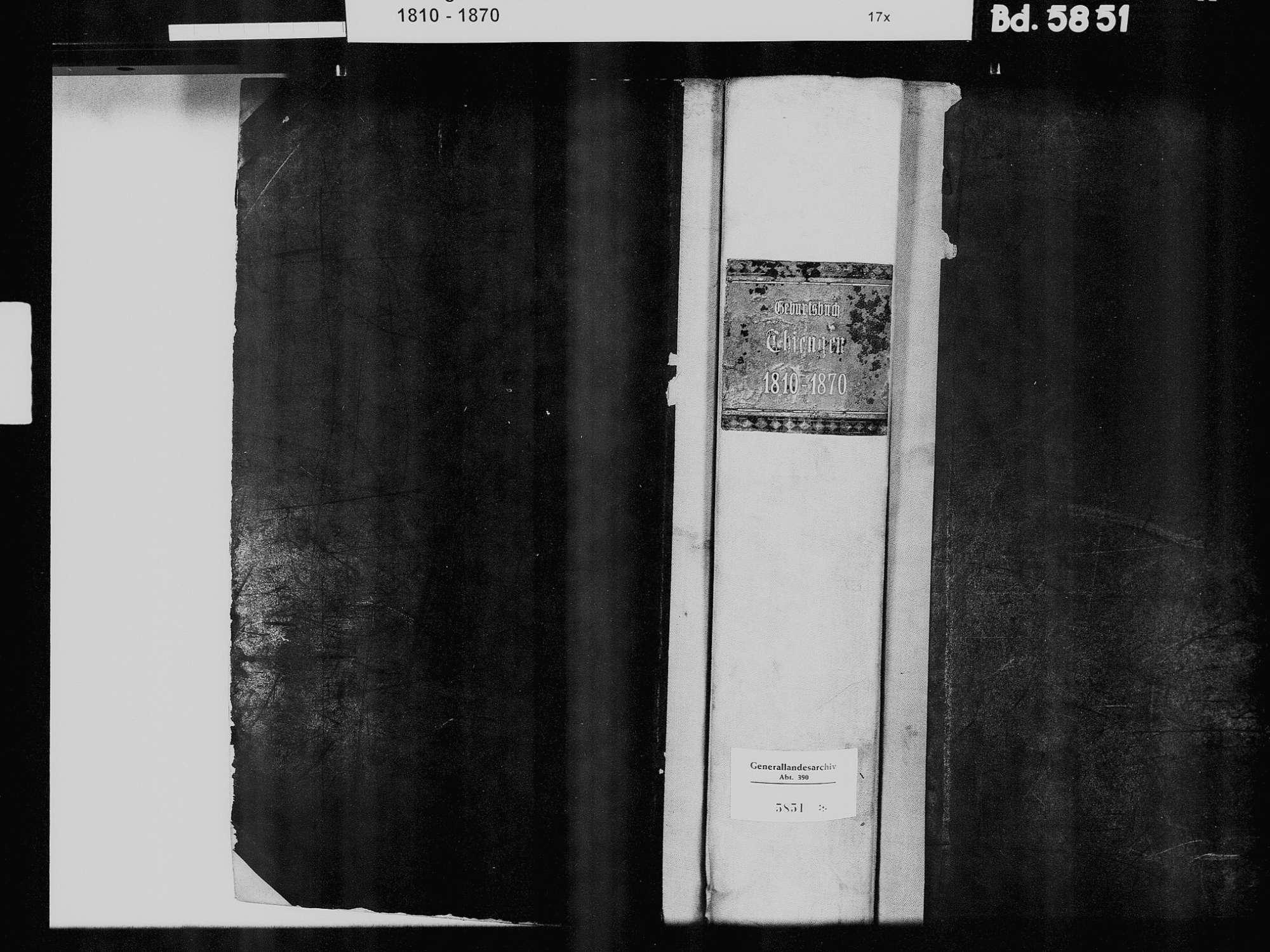 Tiengen/Hochrhein, Waldshut-Tiengen WT; Katholische Gemeinde: Geburtenbuch 1790-1791, 1808-1869 Tiengen/Hochrhein, Waldshut-Tiengen WT; Katholische Gemeinde: Sterbebuch 1845 Tiengen/Hochrhein, Waldshut-Tiengen WT; Israelitische Gemeinde: Geburtsbuch 1821-1822, 1829, Bild 2