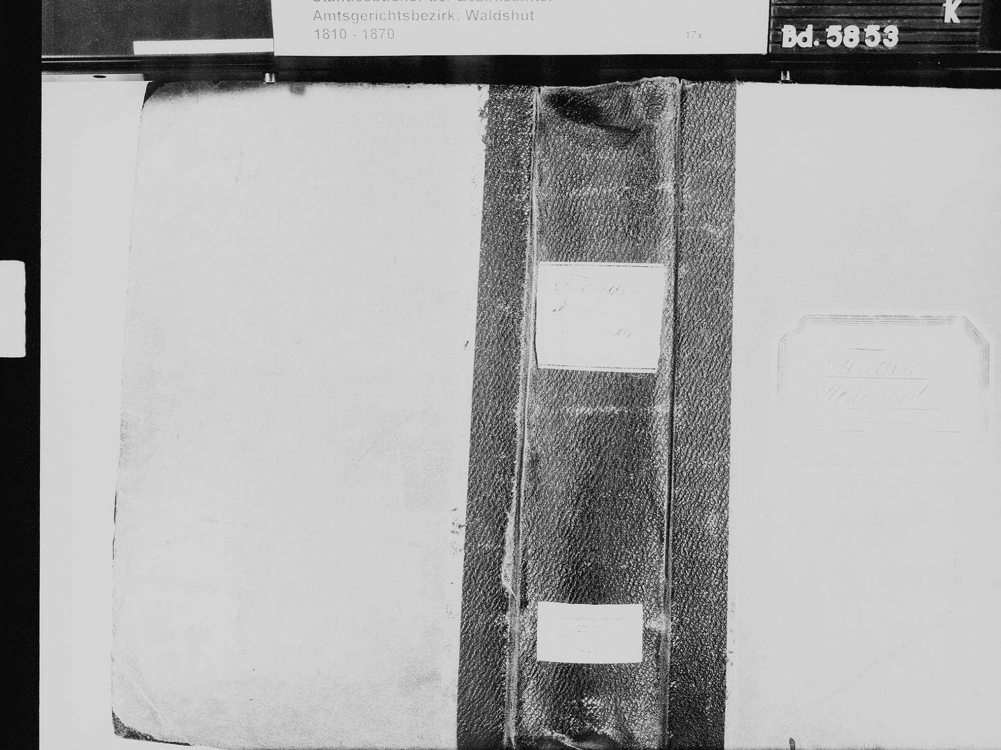 Tiengen/Hochrhein, Waldshut-Tiengen WT; Katholische Gemeinde: Sterbebuch 1810-1869 Tiengen/Hochrhein, Waldshut-Tiengen WT; Israelitische Gemeinde: Sterbebuch 1819, 1821-1822, 1866, Bild 2