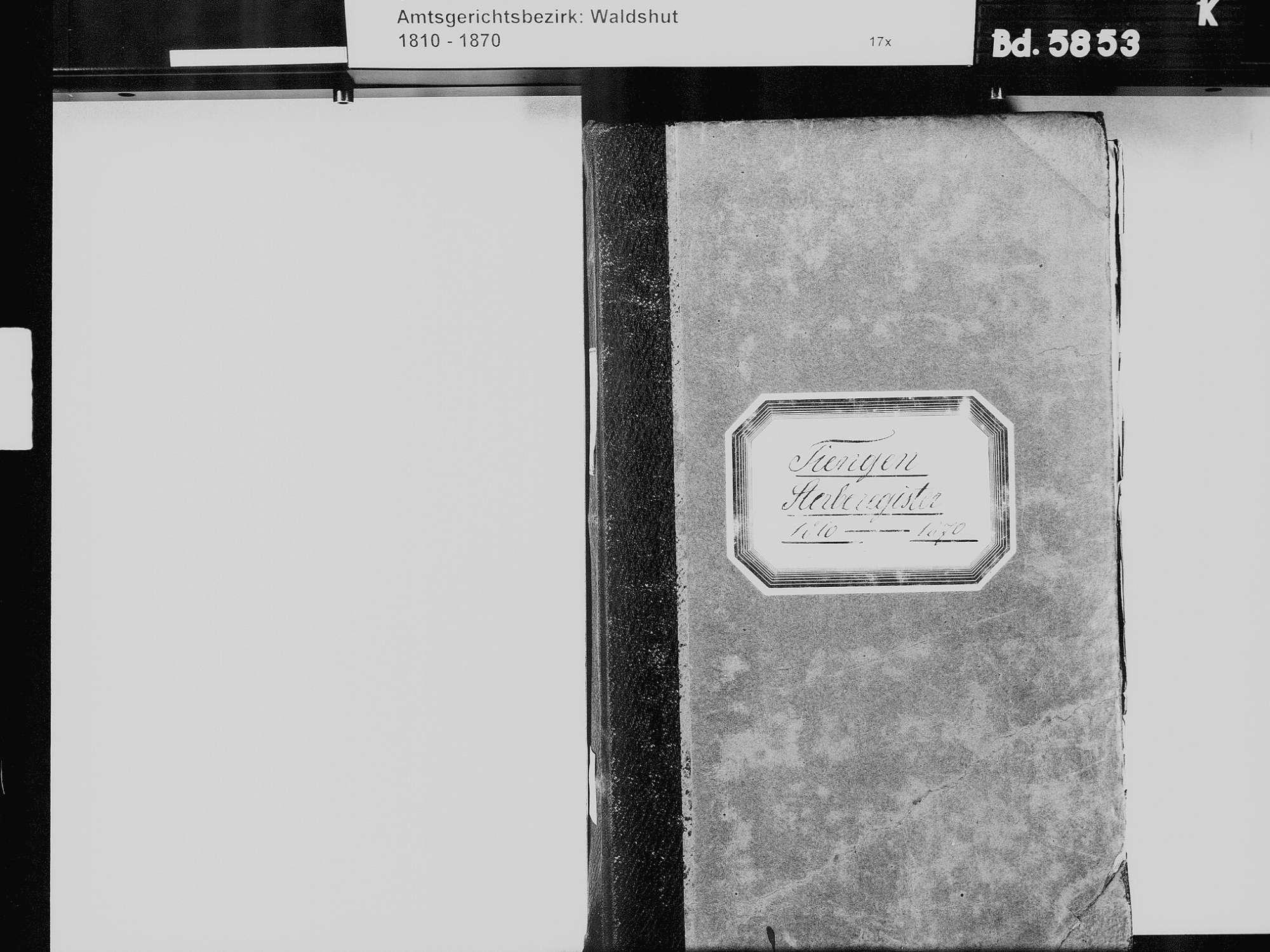 Tiengen/Hochrhein, Waldshut-Tiengen WT; Katholische Gemeinde: Sterbebuch 1810-1869 Tiengen/Hochrhein, Waldshut-Tiengen WT; Israelitische Gemeinde: Sterbebuch 1819, 1821-1822, 1866, Bild 3