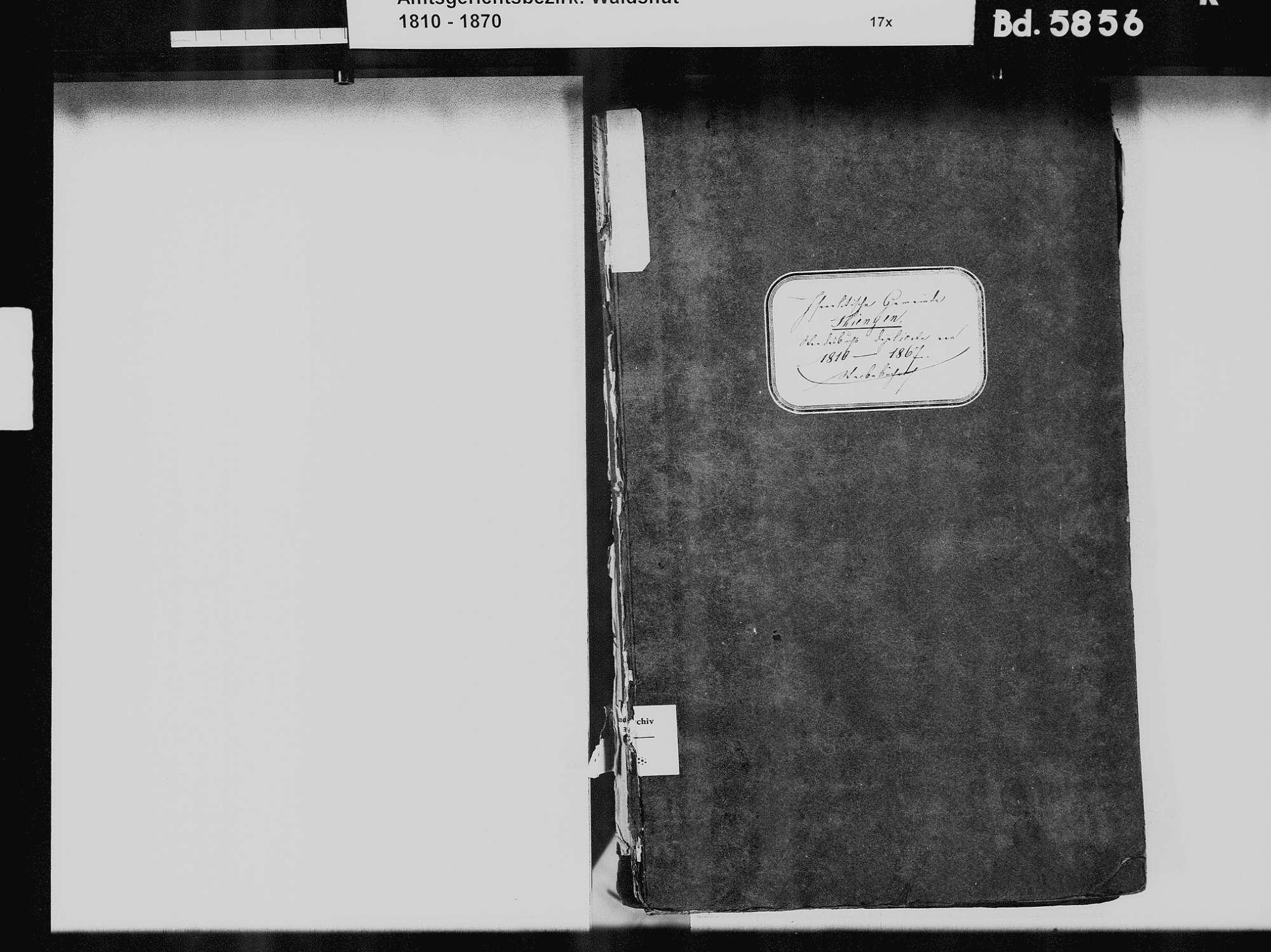 Tiengen/Hochrhein, Waldshut-Tiengen WT; Israelitische Gemeinde: Heiratsbuch 1824 Tiengen/Hochrhein, Waldshut-Tiengen WT; Israelitische Gemeinde: Sterbebuch 1810-1869, Bild 3