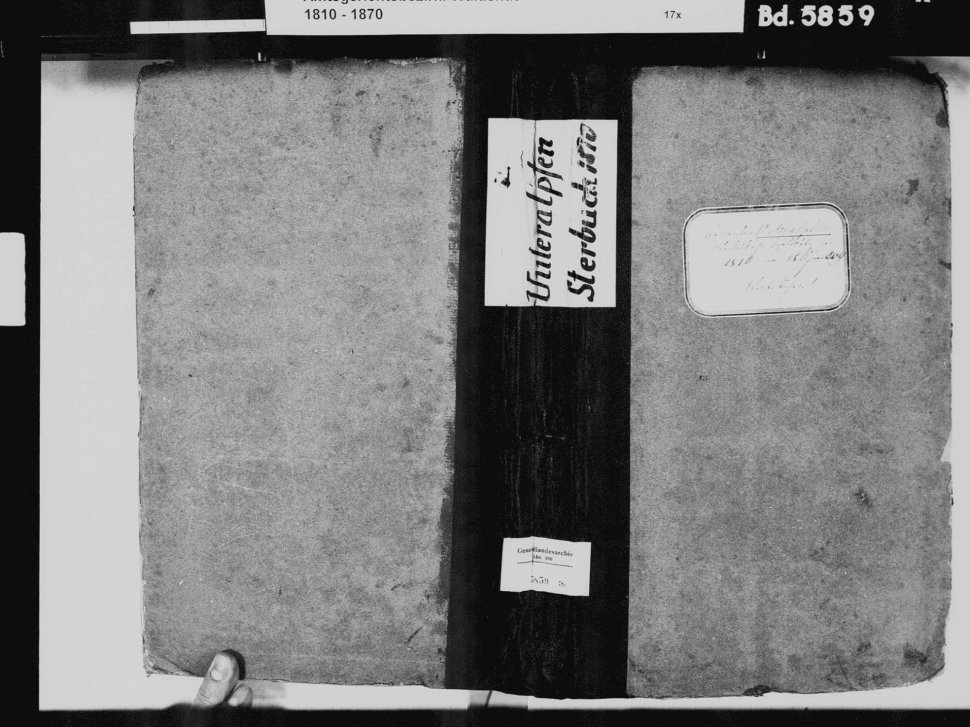 Unteralpfen, Albbruck WT; Katholische Gemeinde: Sterbebuch 1810-1869, Bild 2