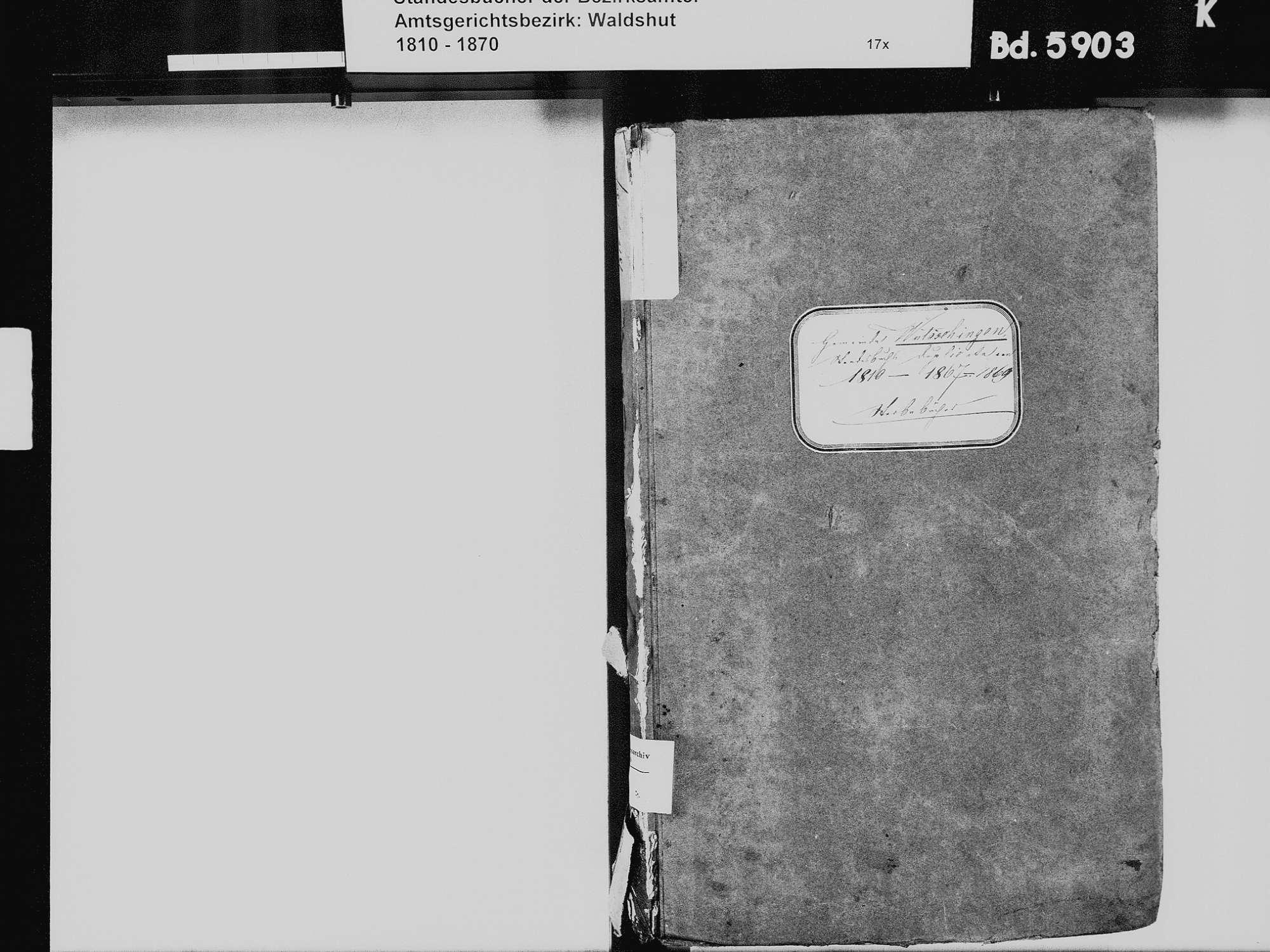 Wutöschingen WT; Katholische Gemeinde: Heiratsbuch 1835 Wutöschingen WT; Katholische Gemeinde: Sterbebuch 1810-1869, Bild 3