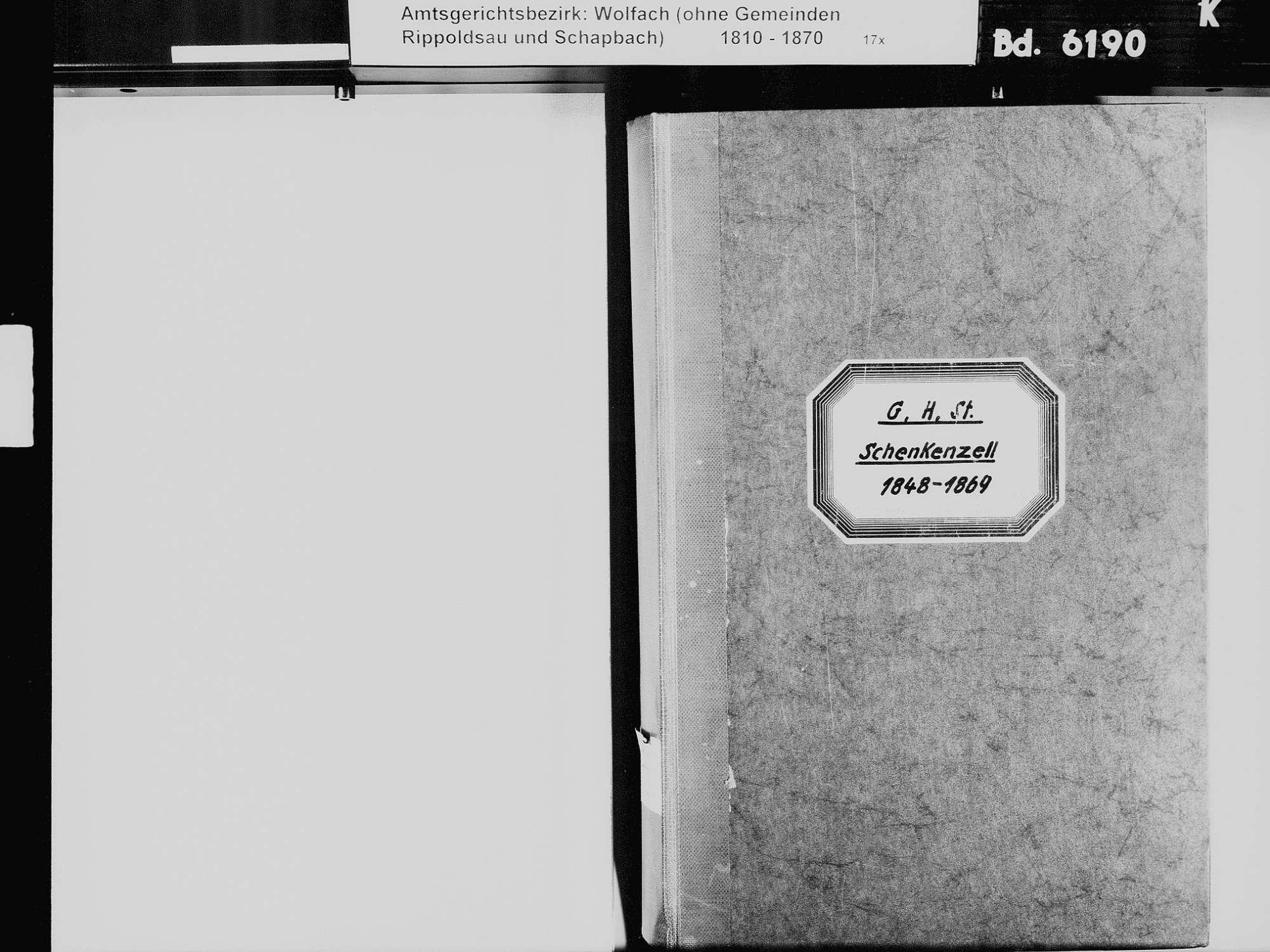 Schenkenzell RW; Katholische Gemeinde: Standesbuch 1848-1869, Bild 3