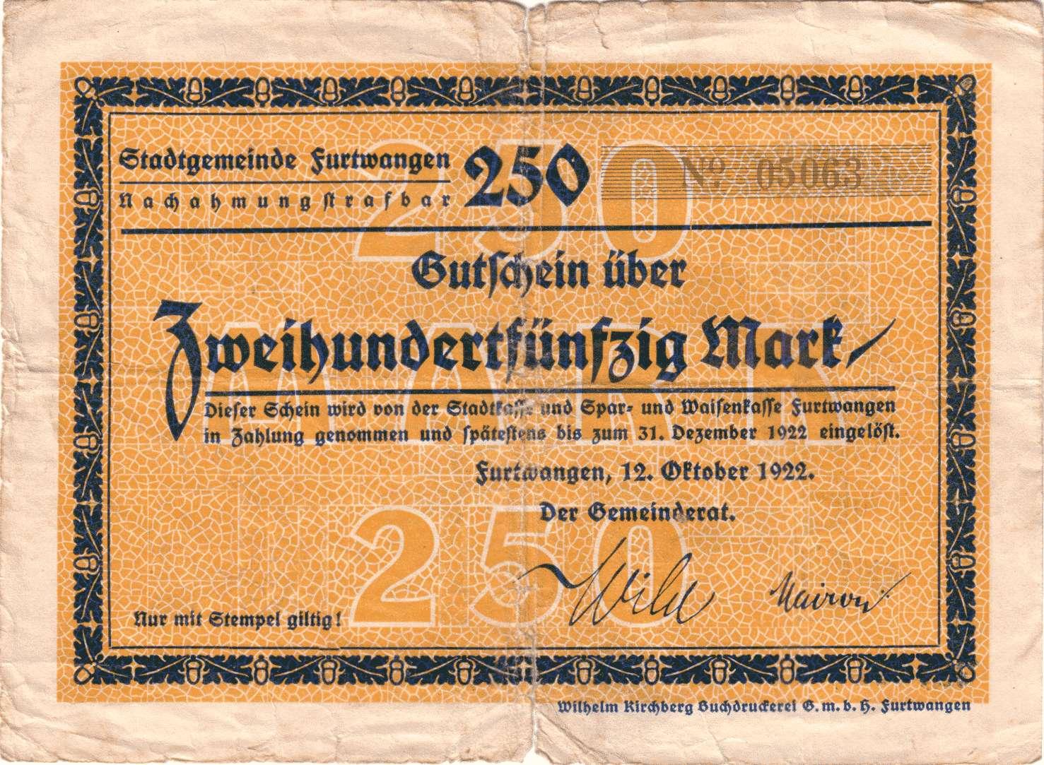 Notgeld der Stadtgemeinde Furtwangen, Bild 1