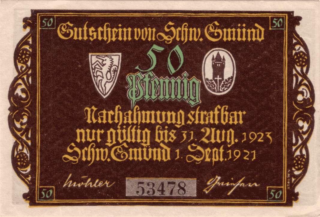 Notgeld der Stadt Schwäbisch Gmünd, Bild 1