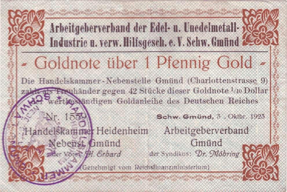 Goldwechselschein des Arbeitgeberverbands der Edel- und Unedelmetall-Industrie und verwandter Hilfsgeschäfte e.V. Schwäbisch Gmünd, Bild 1