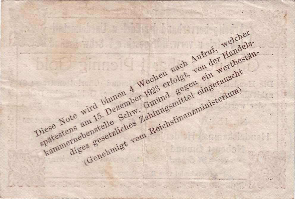 Goldwechselschein des Arbeitgeberverbands der Edel- und Unedelmetall-Industrie und verwandter Hilfsgeschäfte e.V. Schwäbisch Gmünd, Bild 2