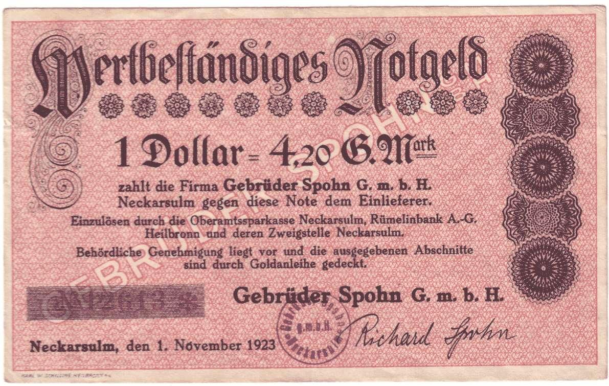 Goldwechselschein der Firma Spohn in Neckarsulm, Bild 1