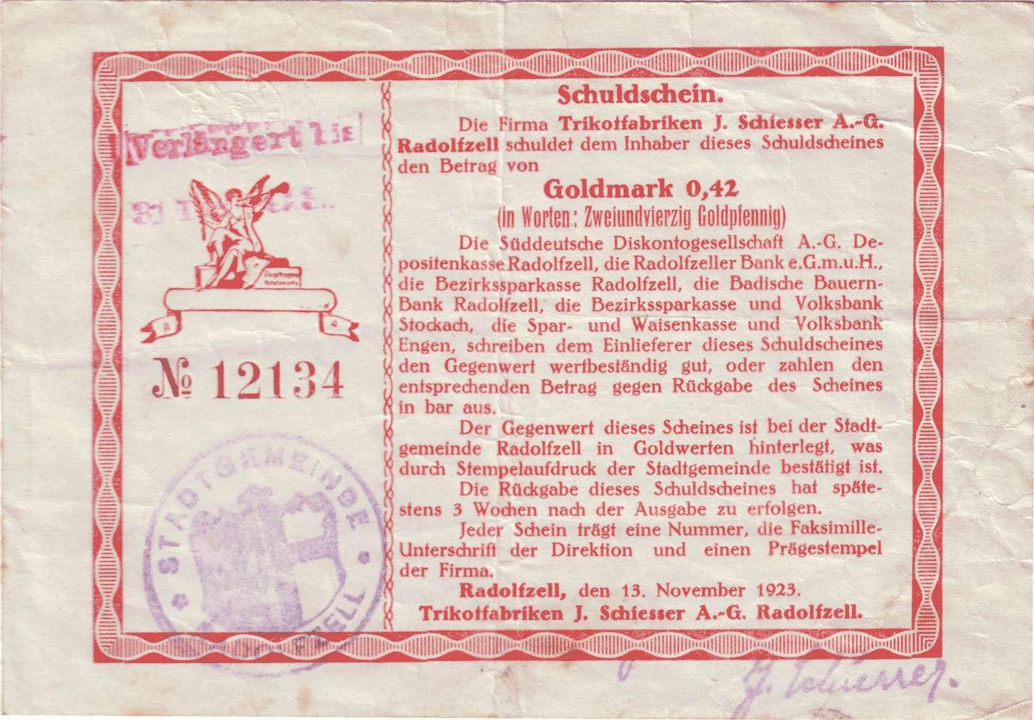 Goldwechselschein der Firma Trikotfabriken J. Schiesser AG in Radolfzell, Bild 1