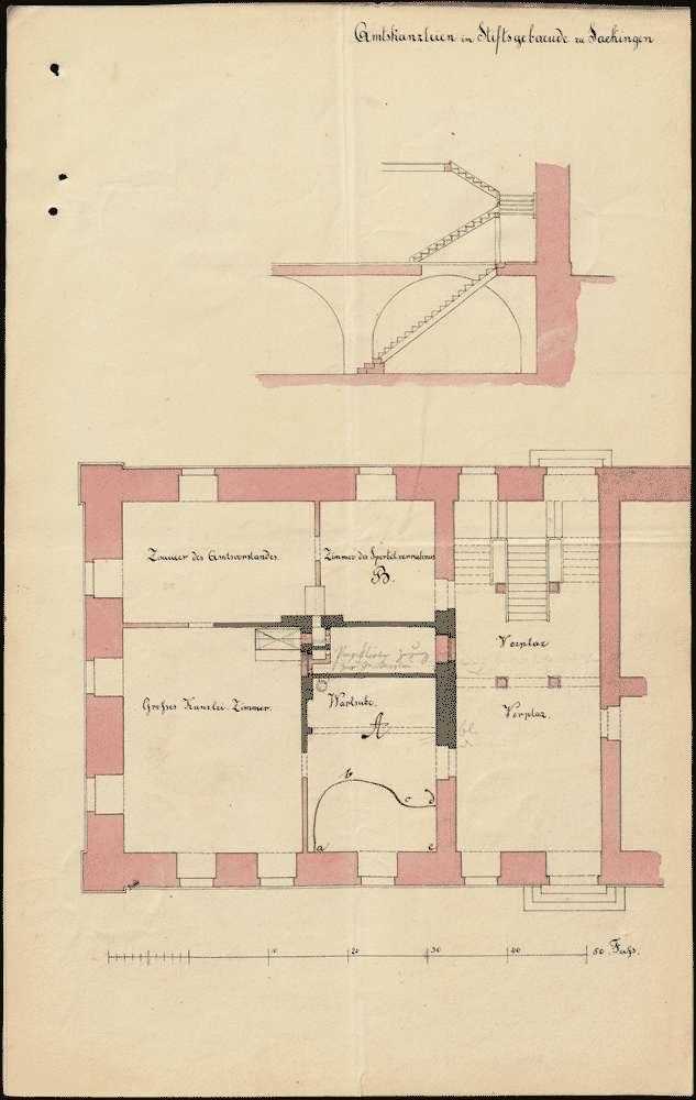 Bauliche Veränderungen am ehemaligen Stiftsgebäude in Säckingen; Amtskanzleien, Bild 2