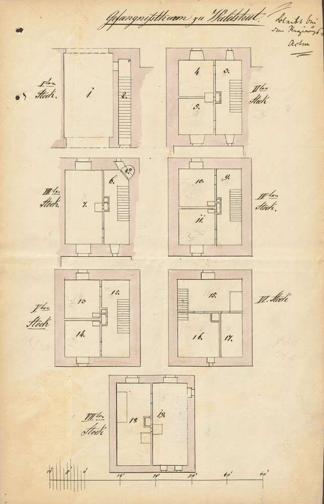Bausachen; Gefängnisturm des Amtsgefängnisses in Waldshut (erbaut lt. Schreiben des Bezirksamts Waldkirch vom 31. März 1840 durch Landgraf Albrecht, Vater von Rudolf von Habsburg, im Jahr 1242), Bild 1