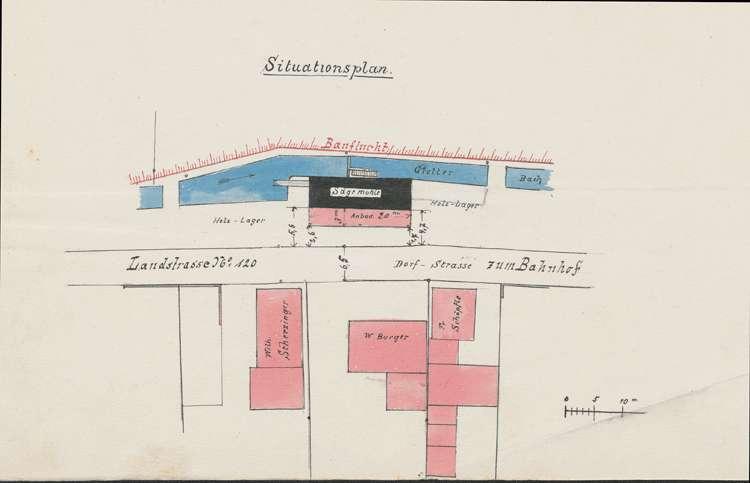 Gesuch des Sägemüllers Wilhelm Burger in Denzlingen um Genehmigung zum Einbau eines Walzengatters im bestehenden Sägewerk, Bild 1